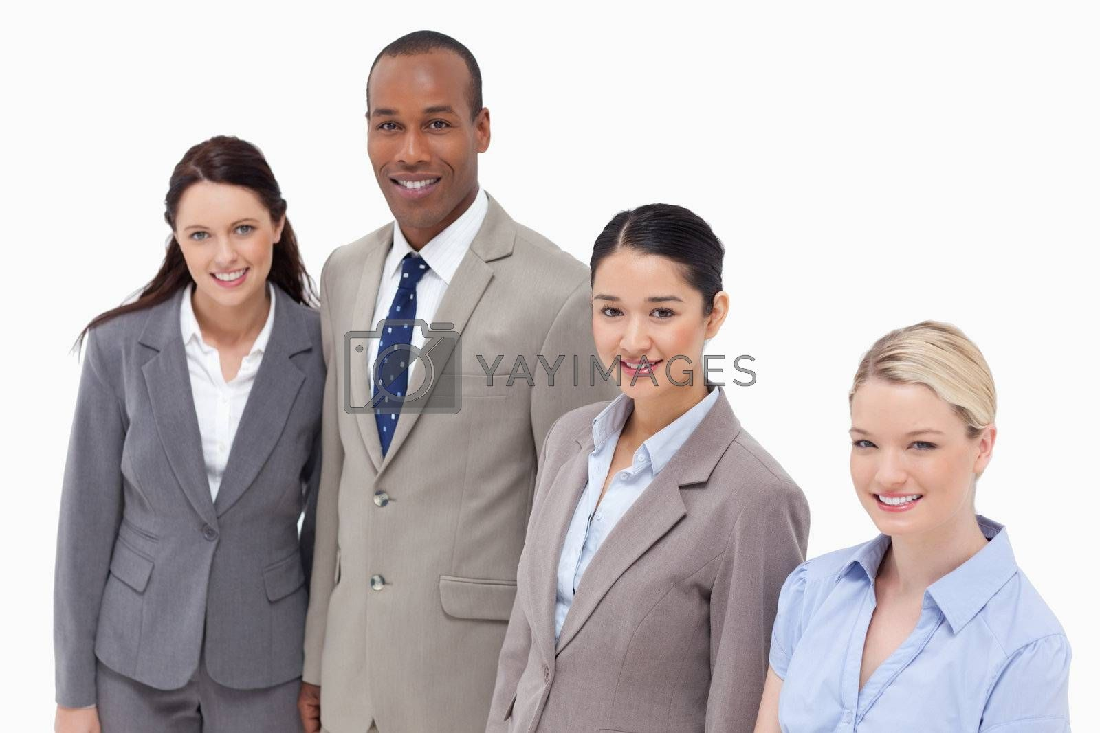 High angle shot of business people smiling against white background