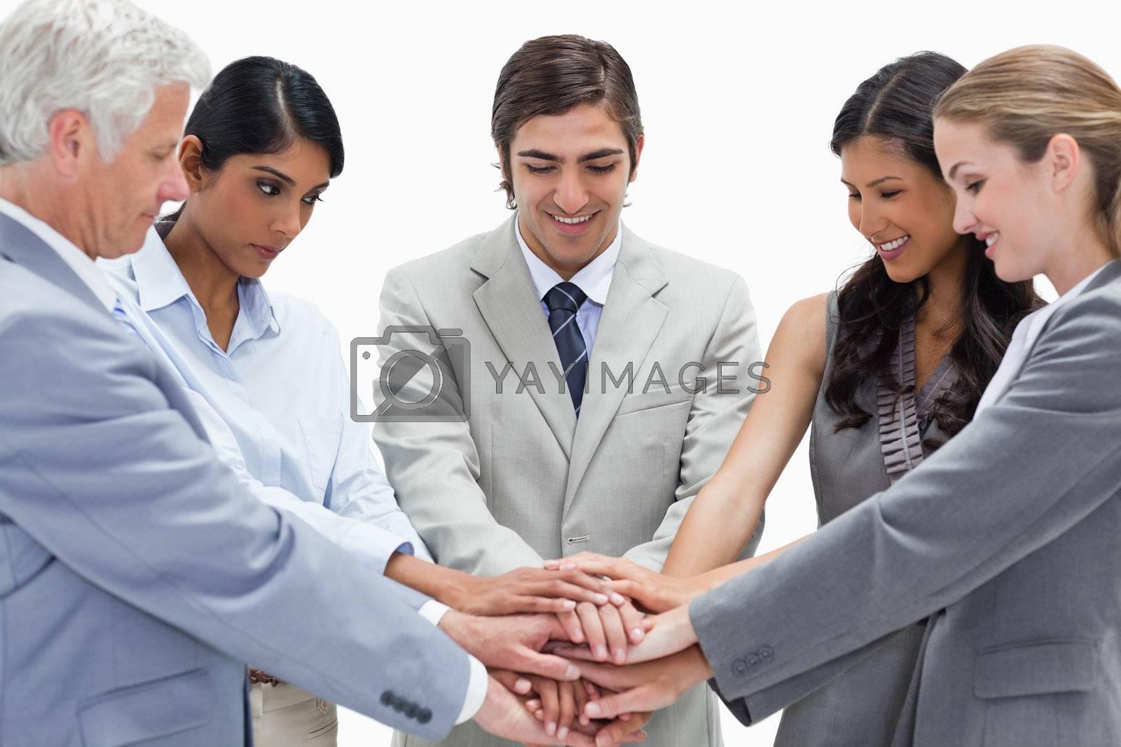 Successful teamwork against white background