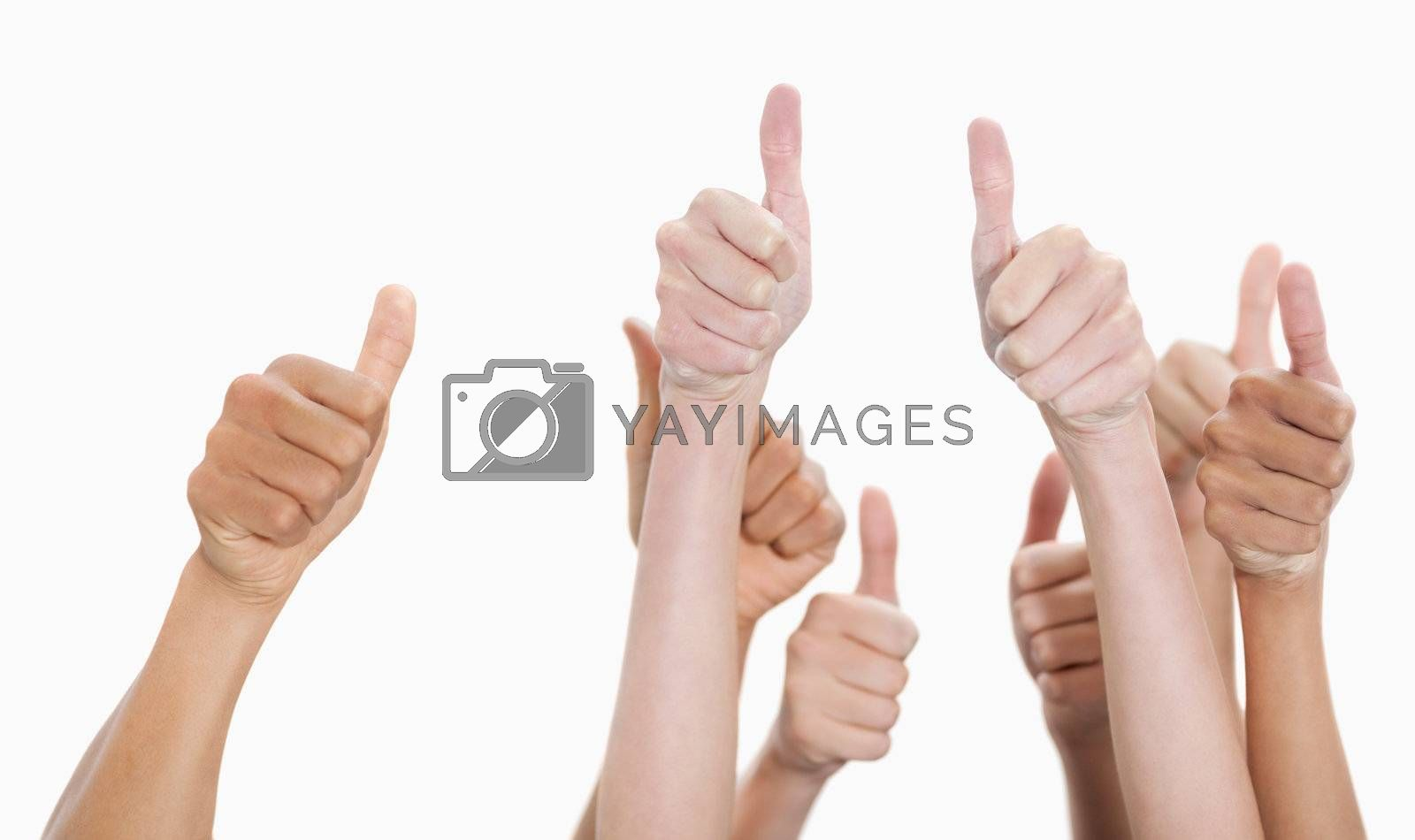 Hands up and thumbs raised against white background