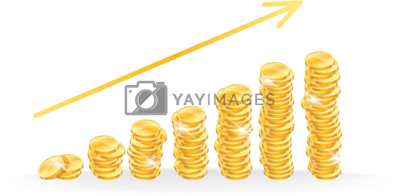 Vector illustration of Golden coins