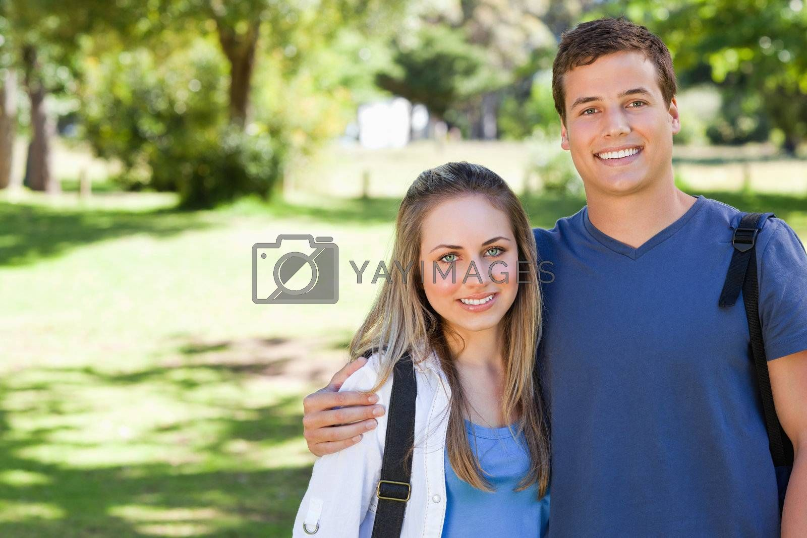 Portrait of cute couple in a park