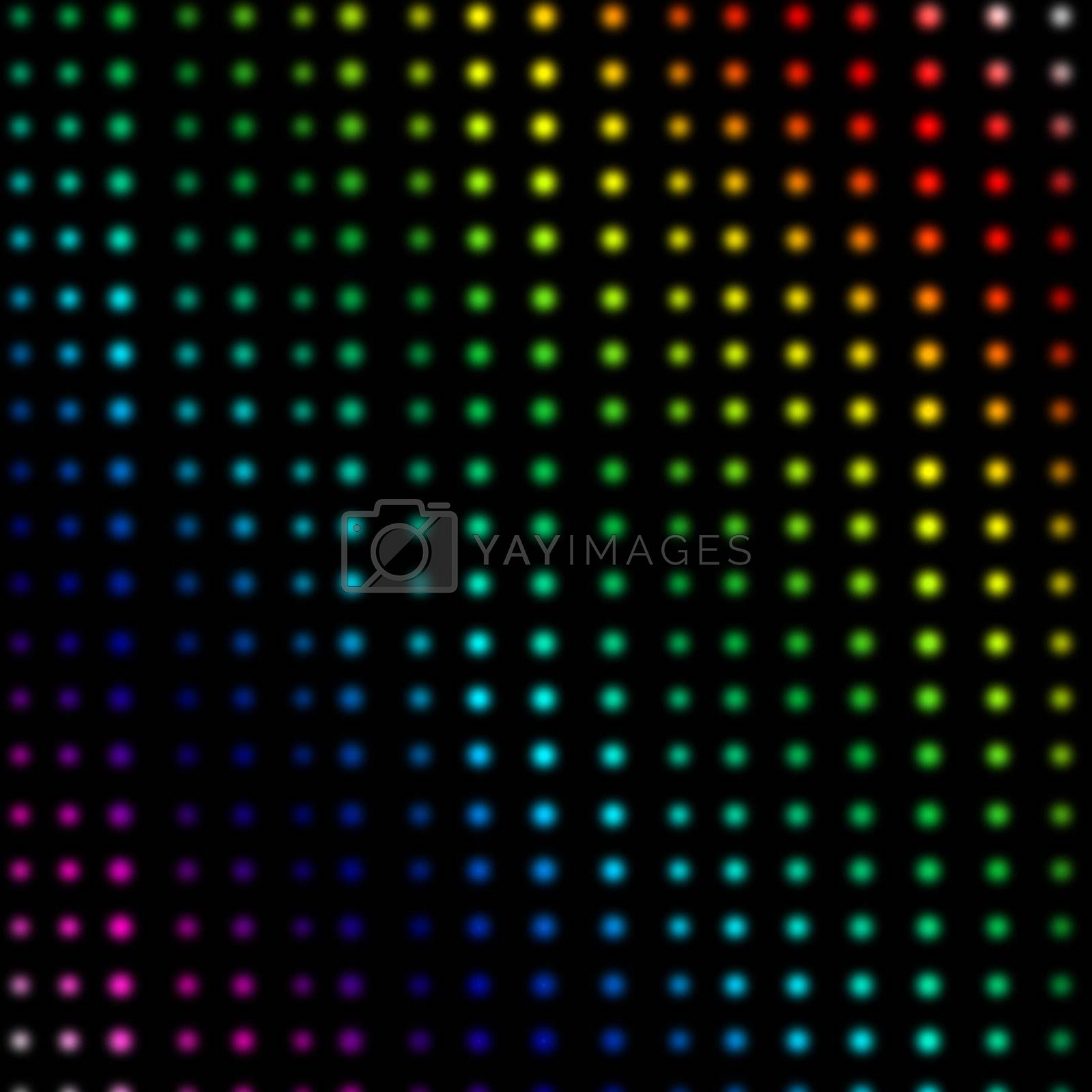 Multicolored dots forming lines against a black background