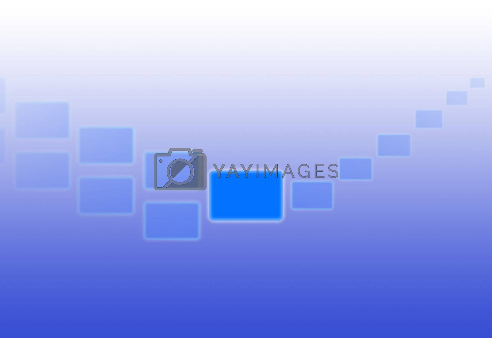 Blue rectangular shapes forming a curve against a gradient background