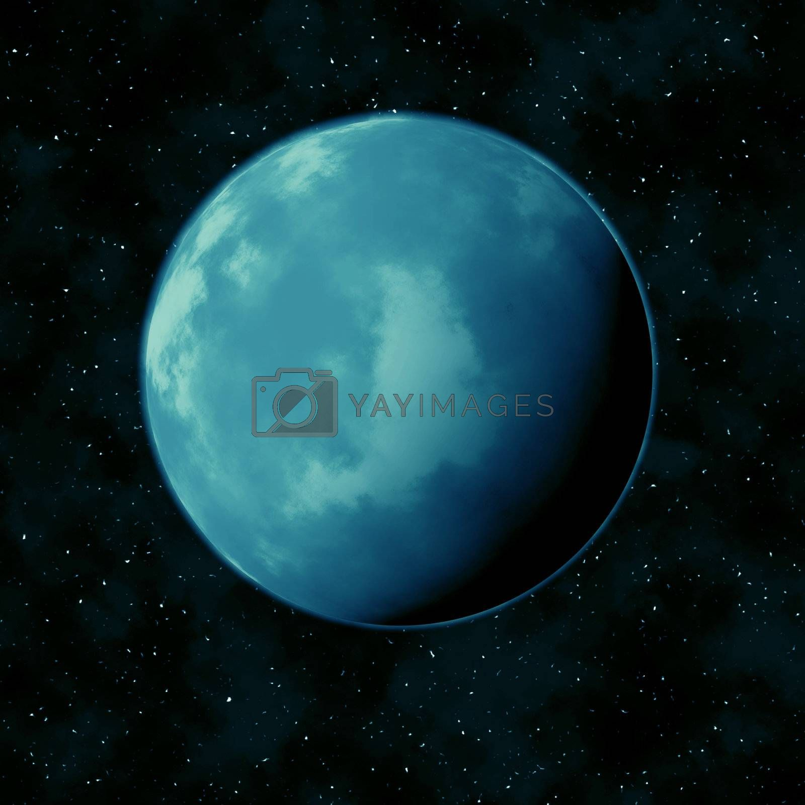 Blue planet in the star sky against a black background