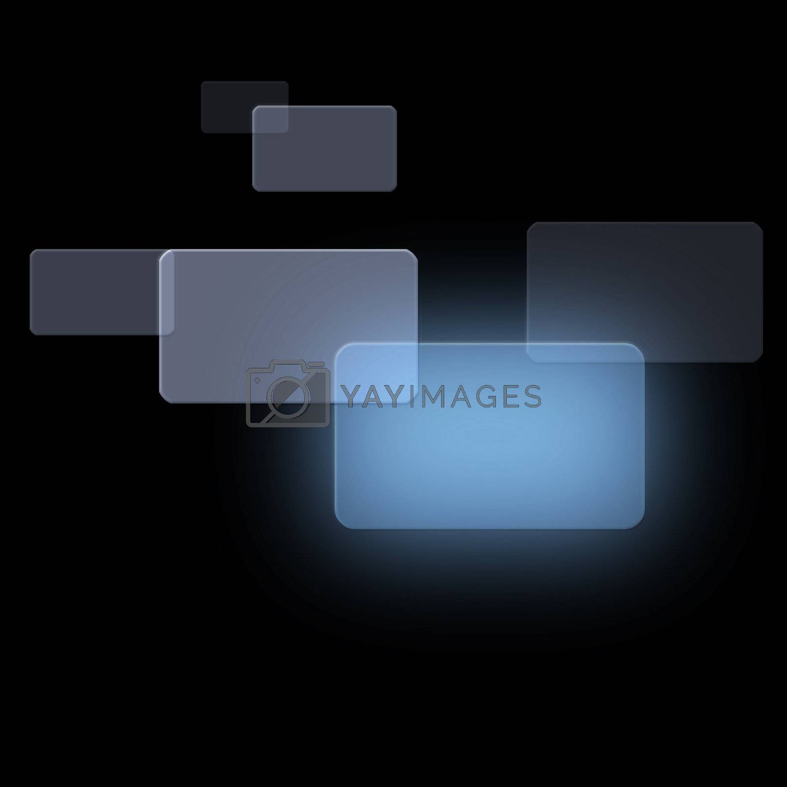 Grey squares overlapping against a black background