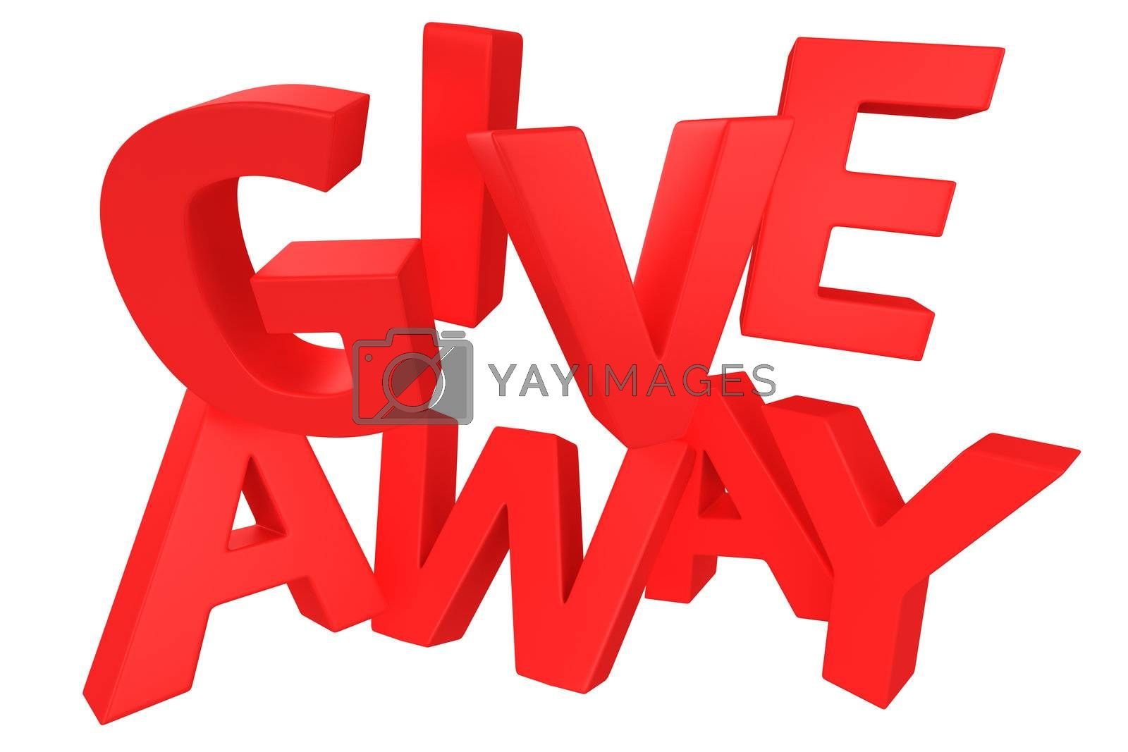 """Word """"Giveaway"""" made by red letters isolated on white"""