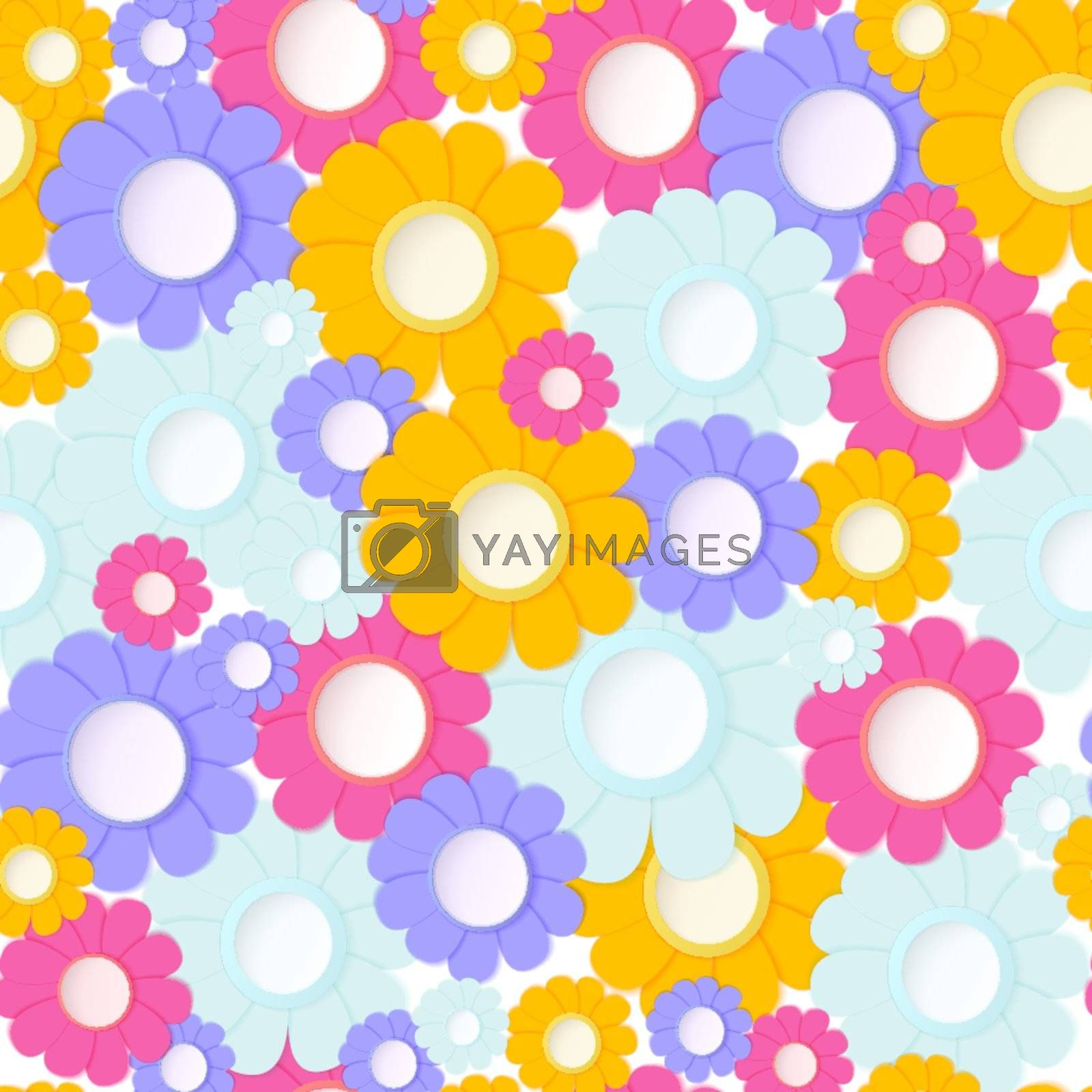 Vector illustration of paper crafted flowers seamless backgrounds
