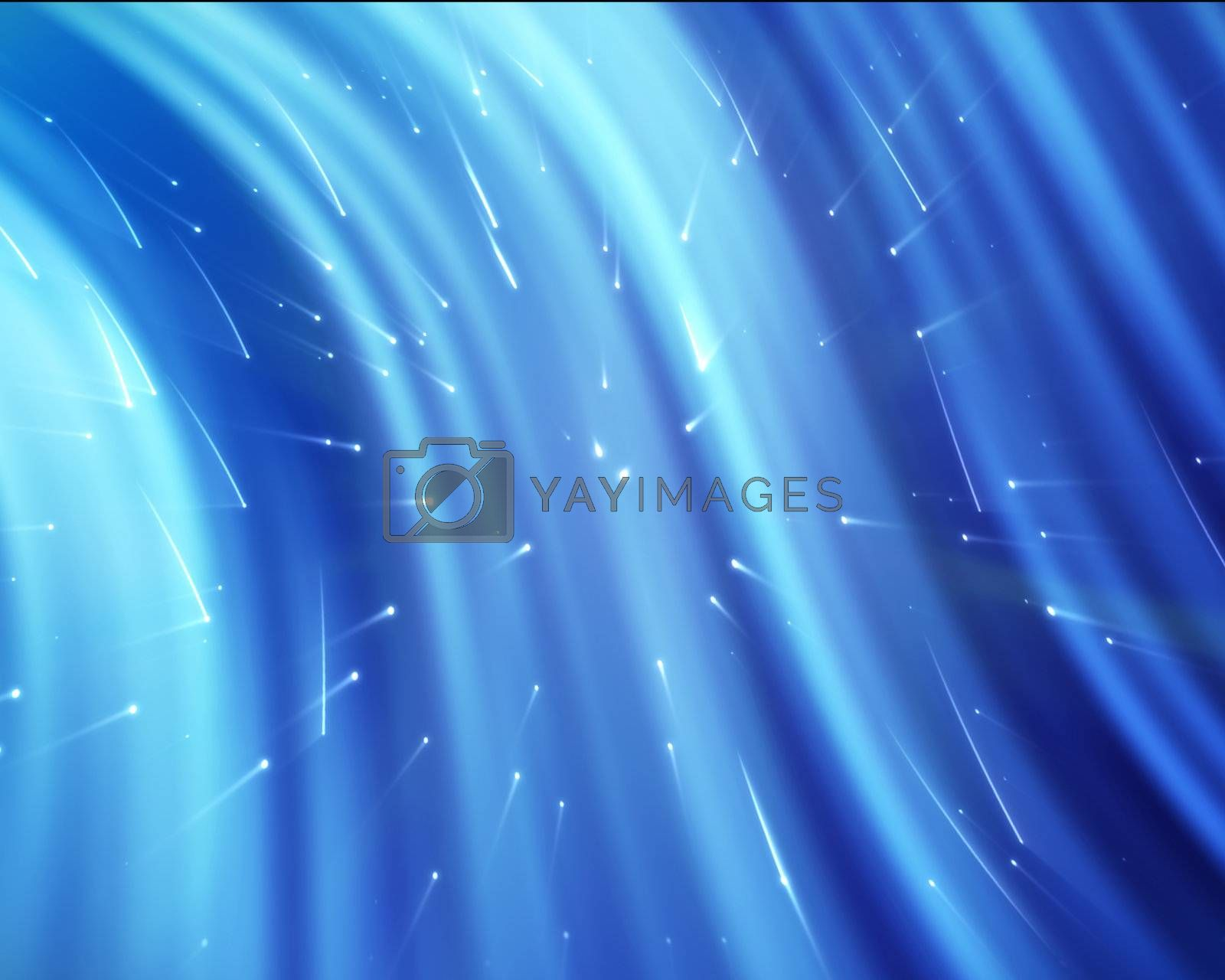 Blue streams of light with shining stars against a colourful background