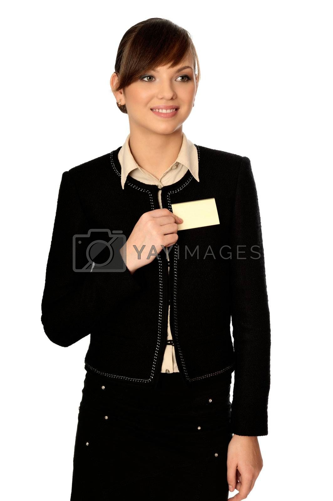 woman showing her badge at the entrance of meeting room