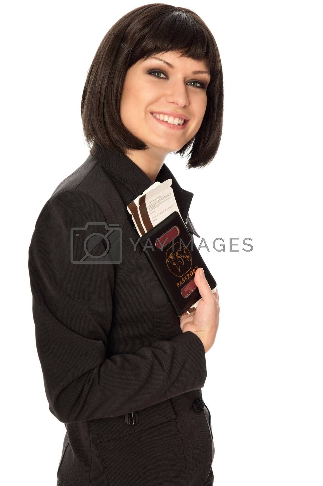 Woman holding in the hand passport and tickets for business trip