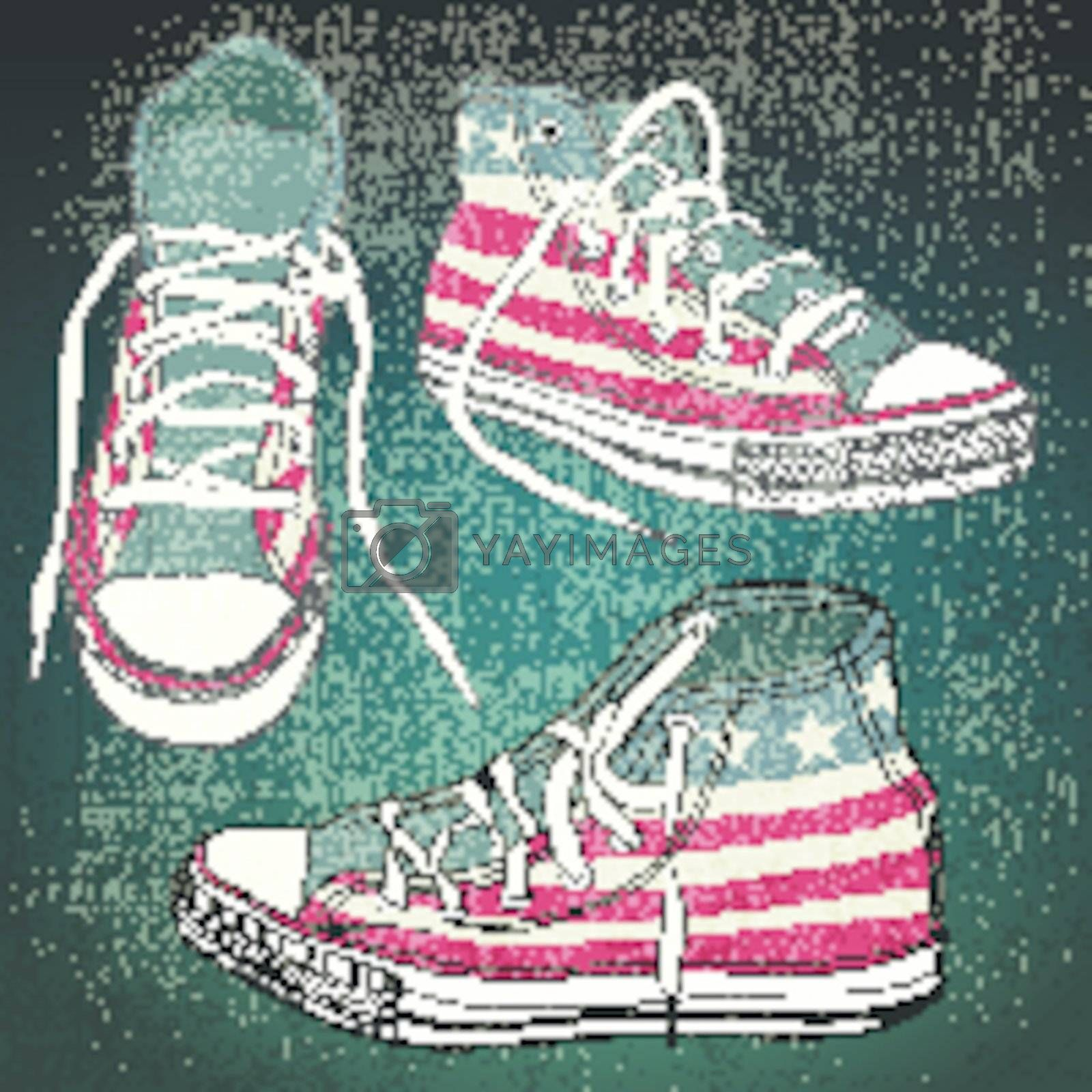 shoes with american stars and stripes with grunge effect