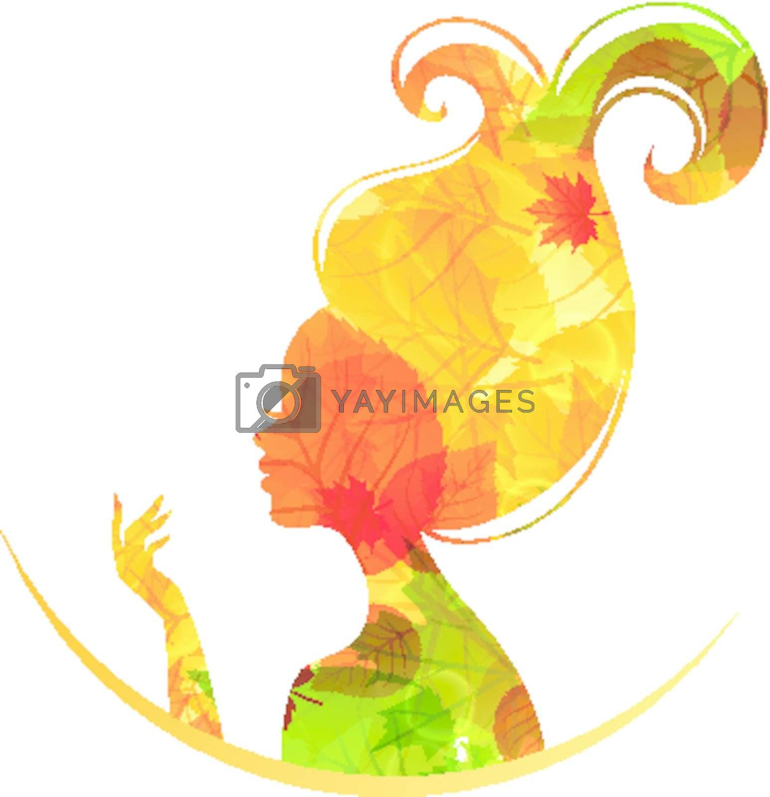 Vector illustration of Beautiful autumn woman
