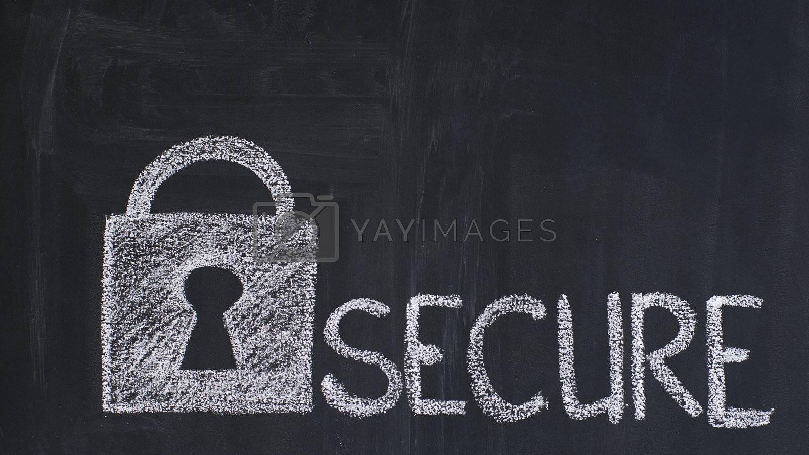 Secure padlock drawn by a chalk on a blackboard