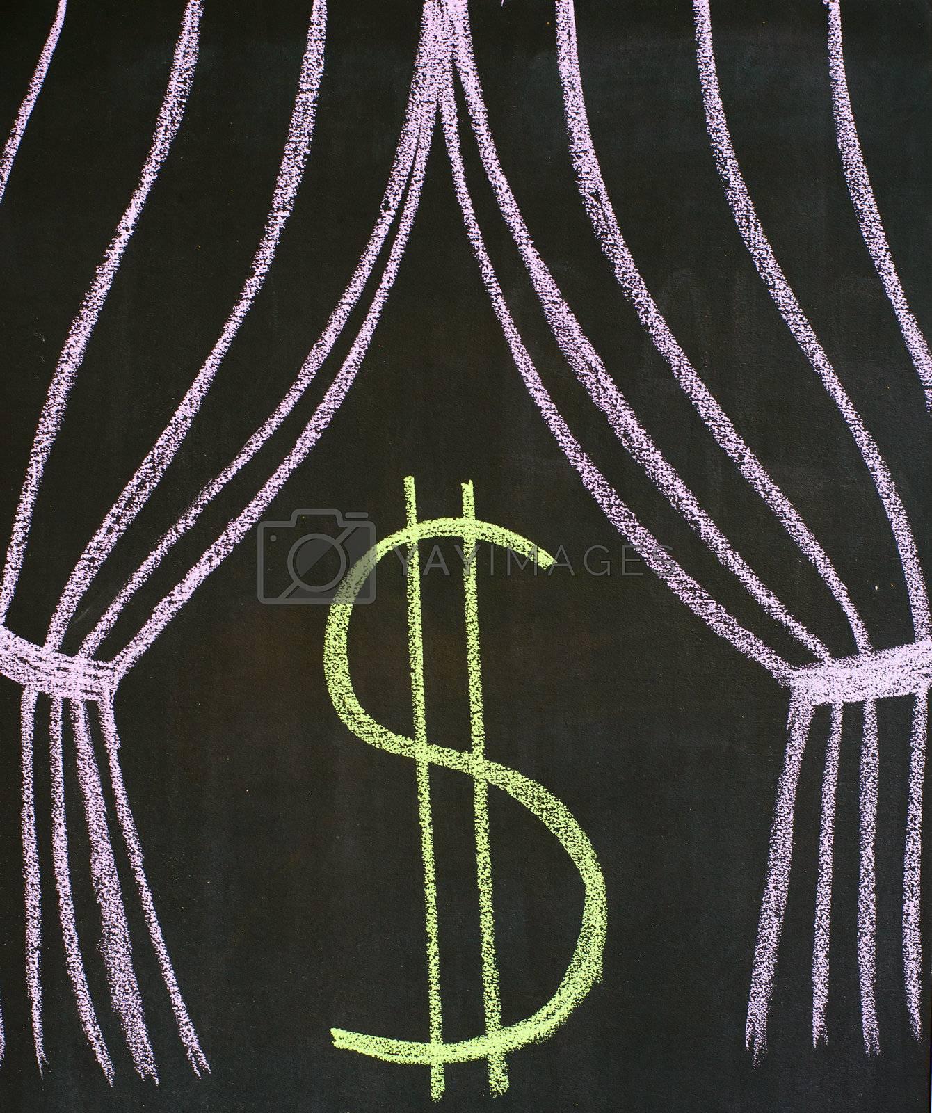 Dollar on a theatrical stage, drawn on a blackboard