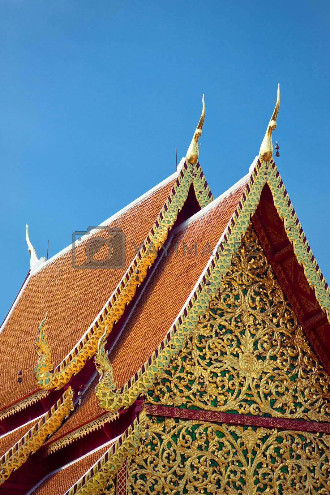 Ornate roof of buddhist temple, Wat Doi Suthep, Chiang Mai, Thailand
