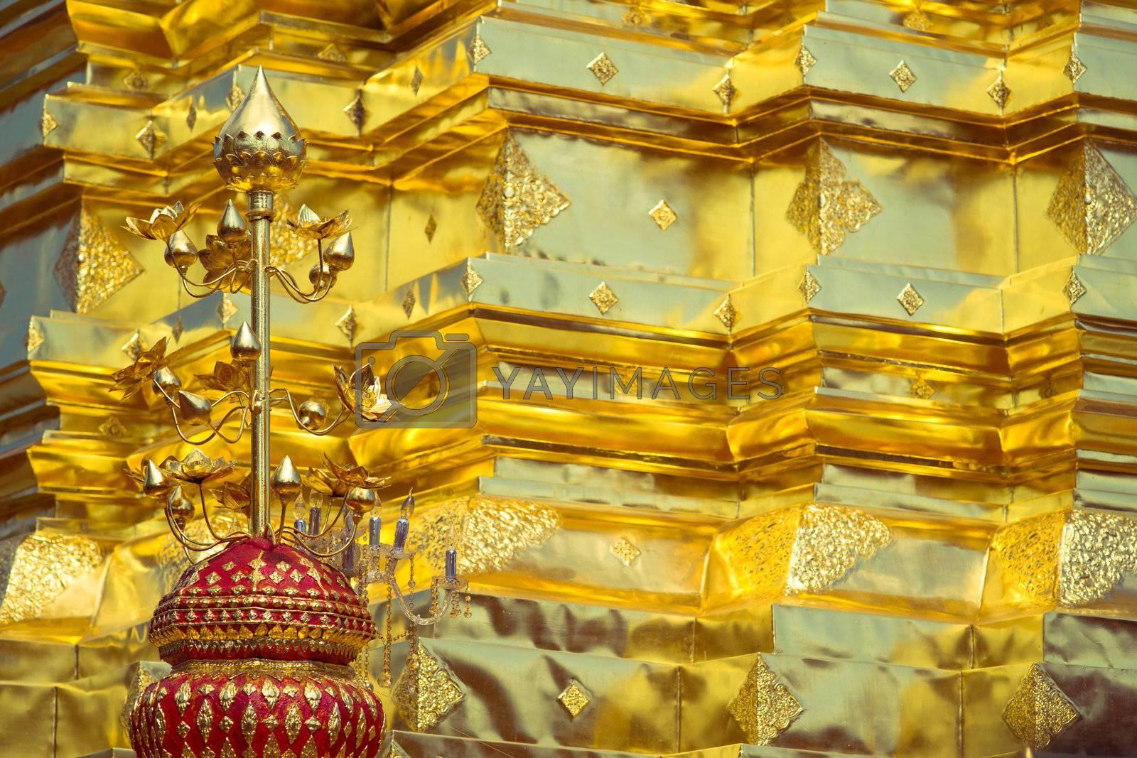 Golden wall in buddhist temple, Wat Doi Suthep, Chiang Mai, Thailand