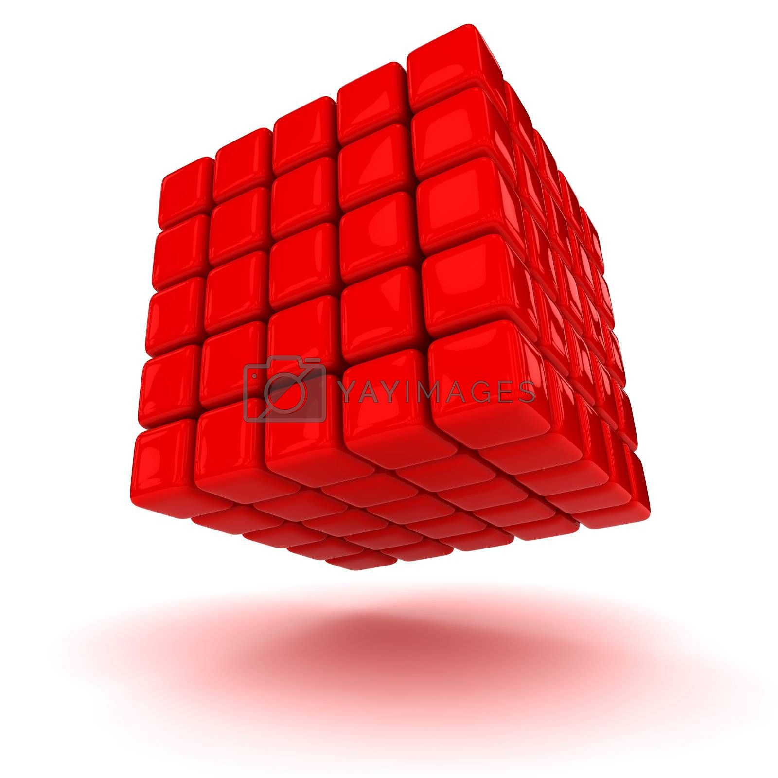 Big red cube made from small blocks