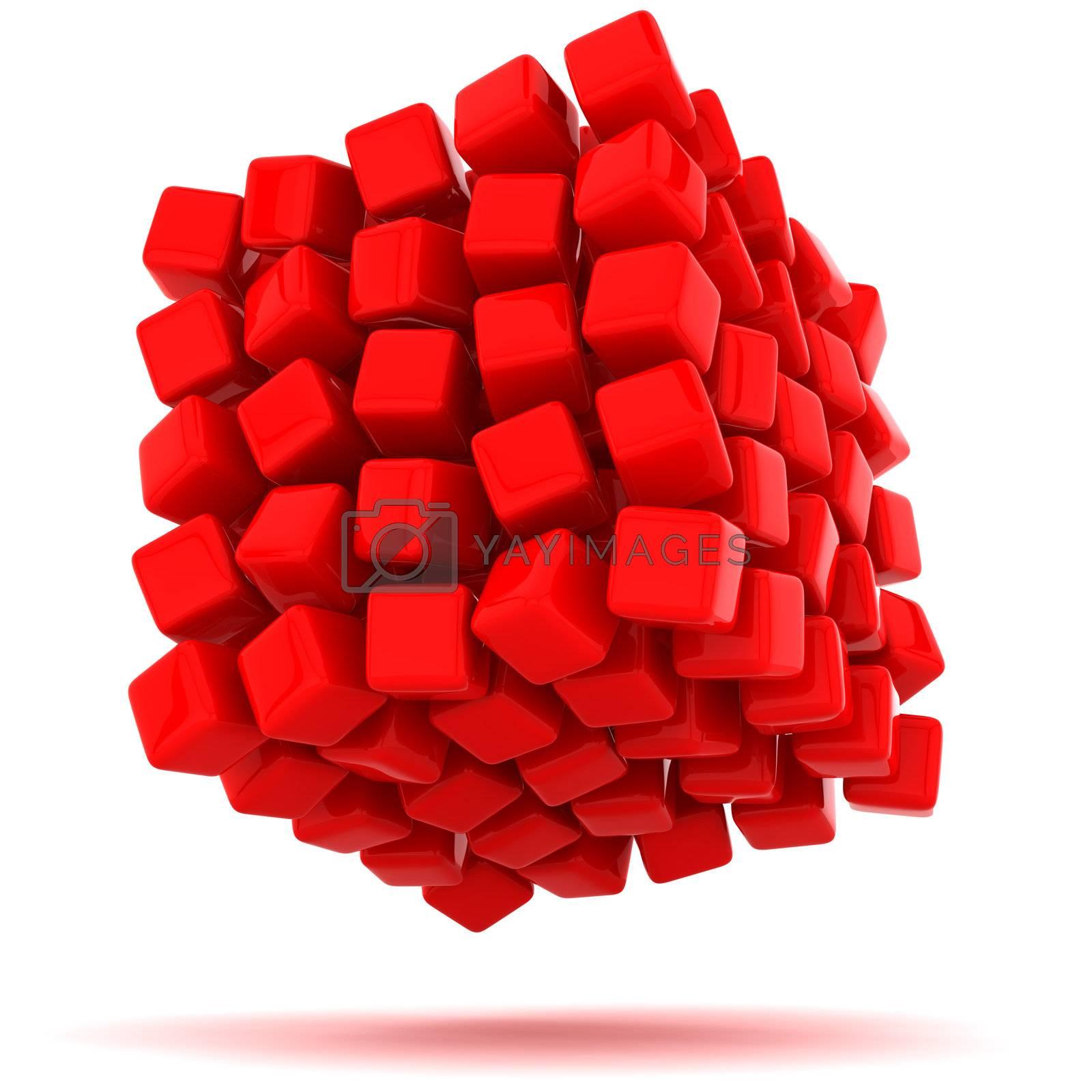 Big red cube falling apart