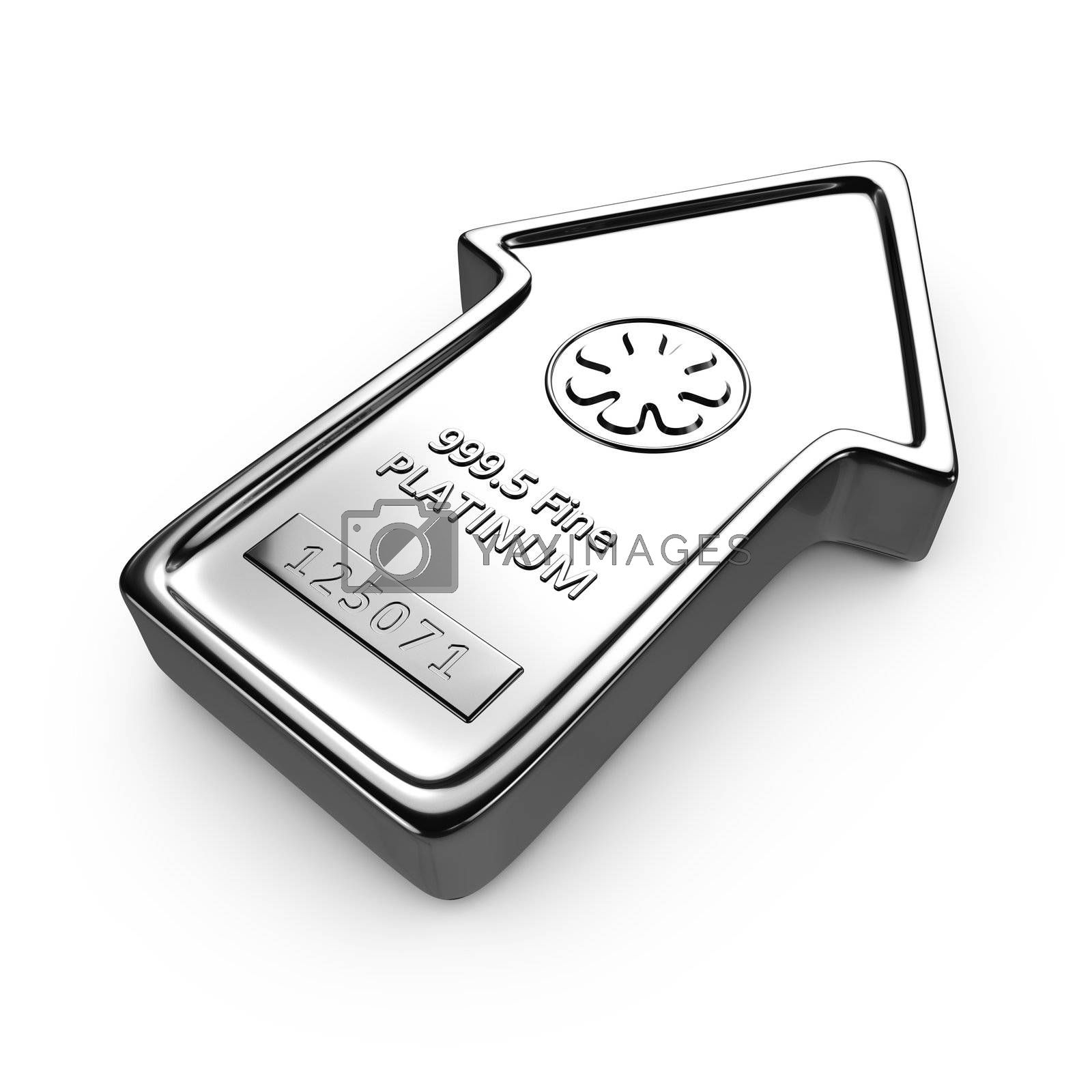 Platinum ingot in the shape of arrow on the white background