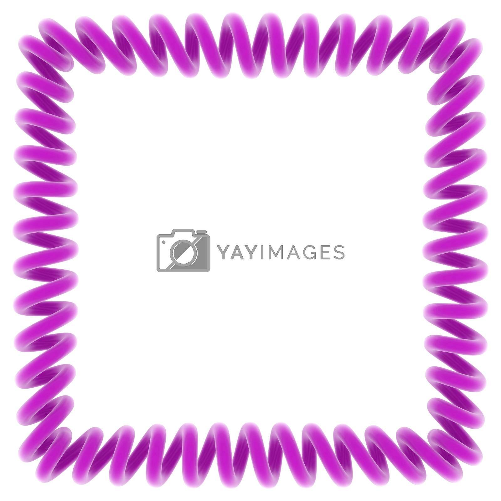Purple spiral frame on white, 3d render