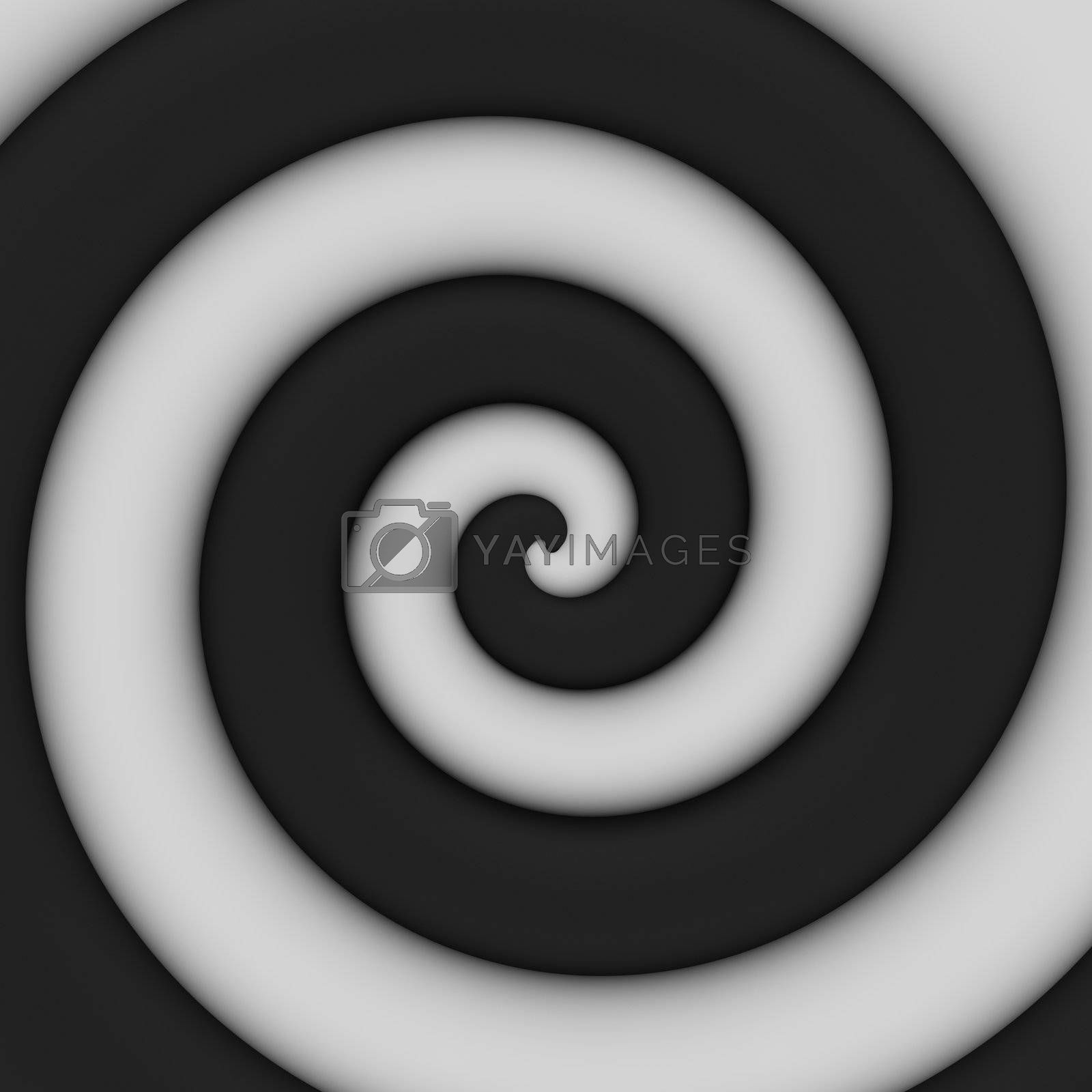Abstract background of contrast black-and-white spiral swirl