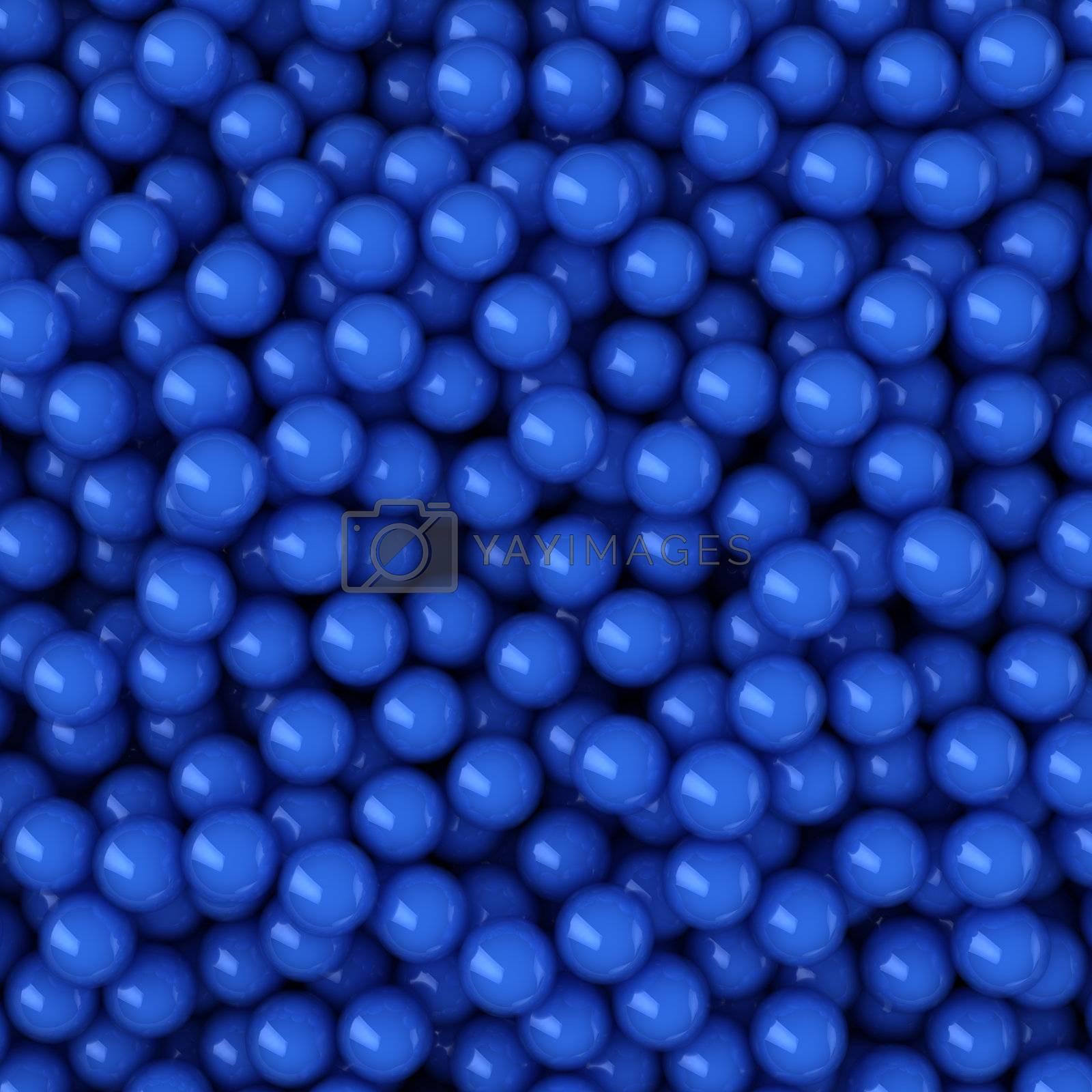 Heap of blue balls, 3d computer graphic