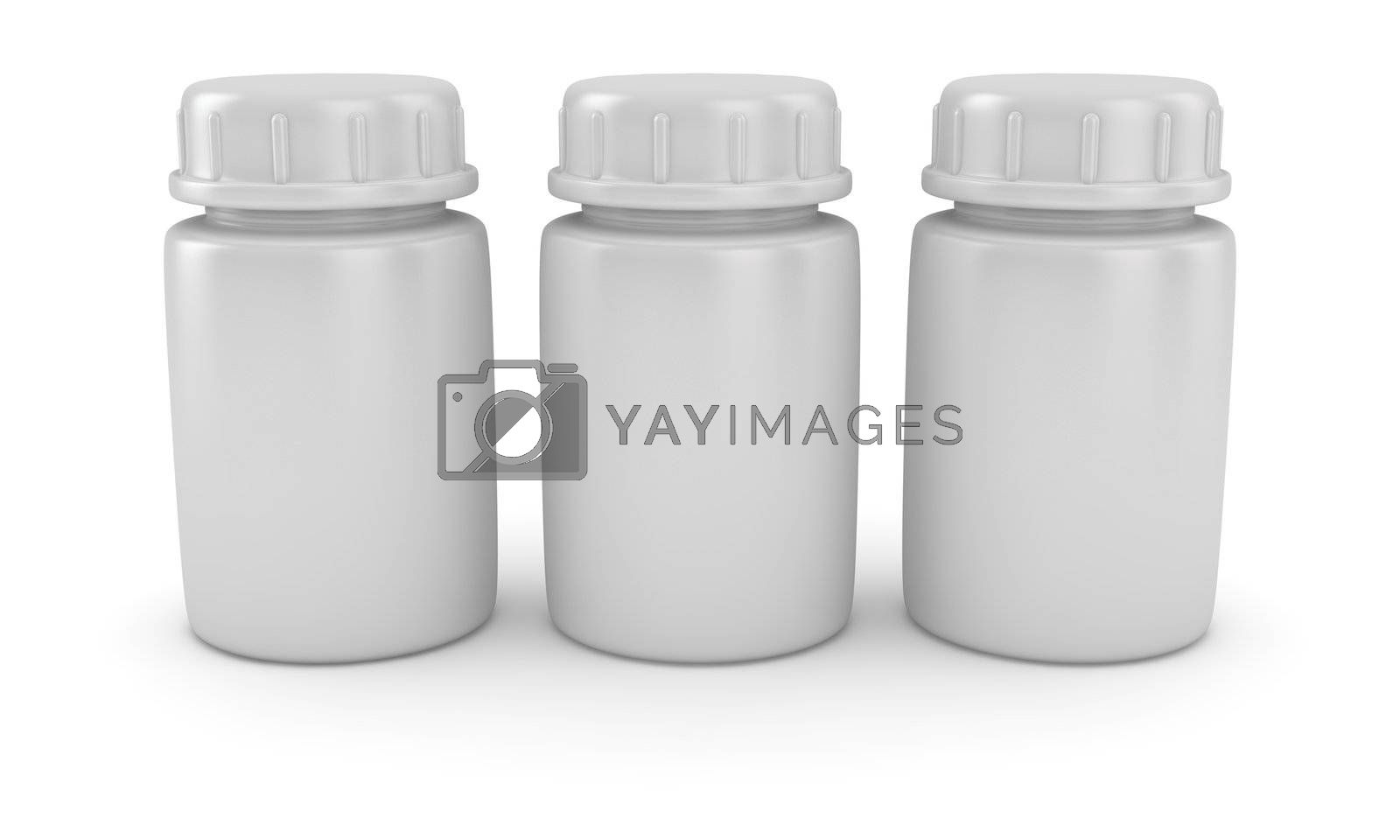 Three blank pill bottles on the white background
