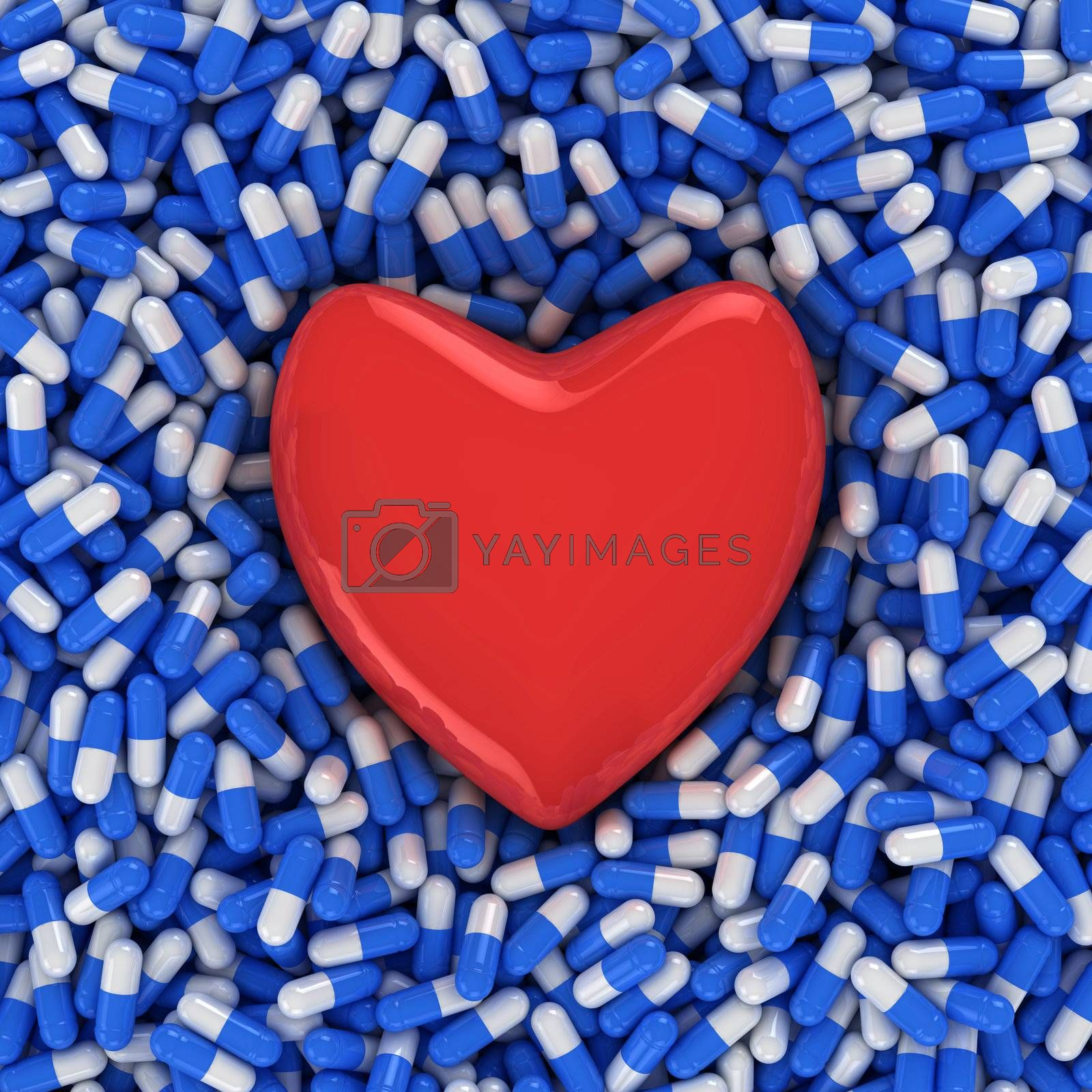 Heart on the background of blue and white capsules, three-dimensional computer graphic.