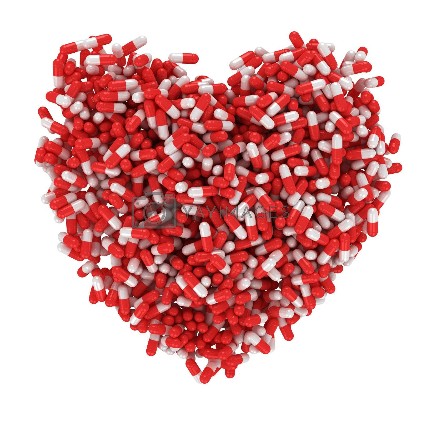Big heart made from red and white capsules