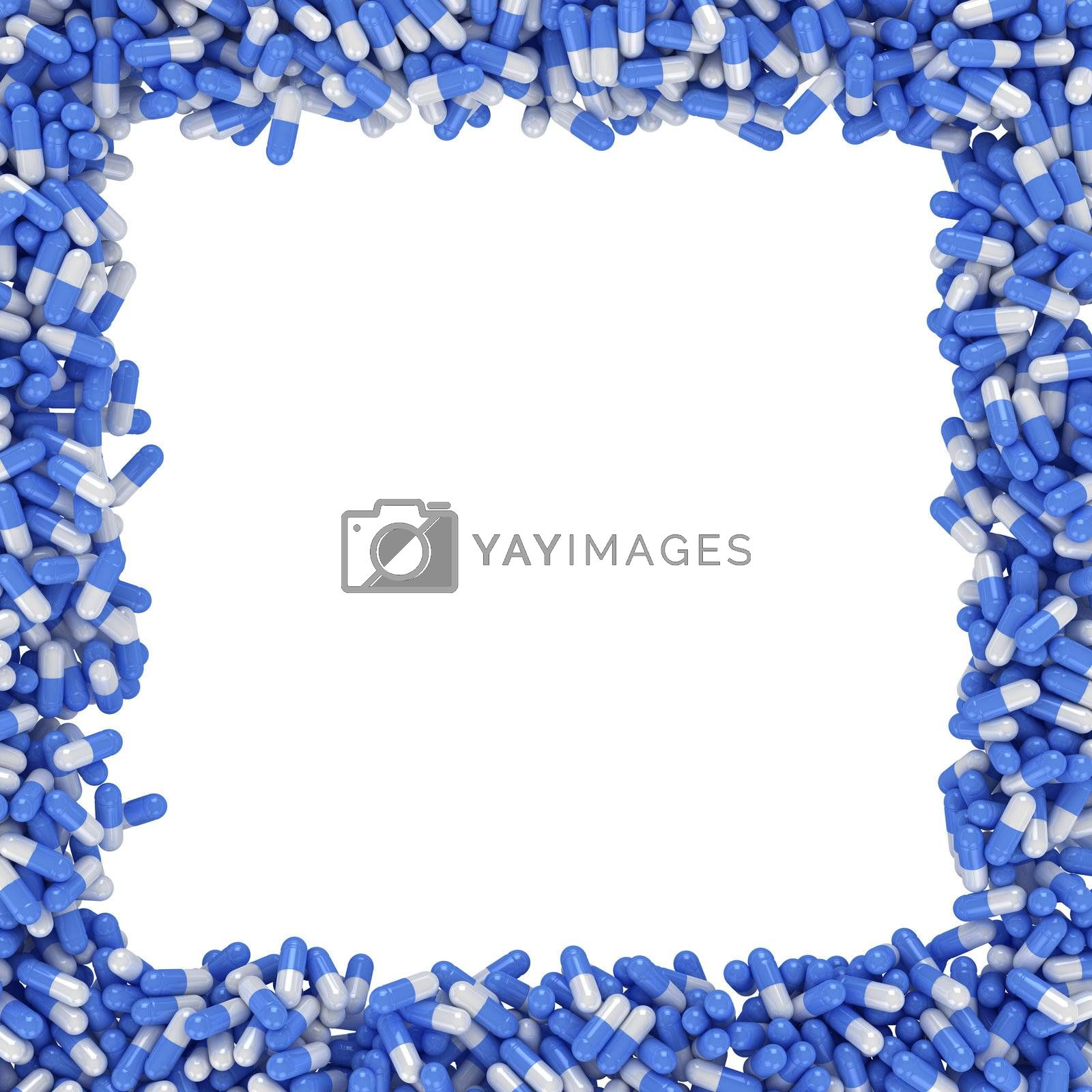 Square frame made from blue capsules