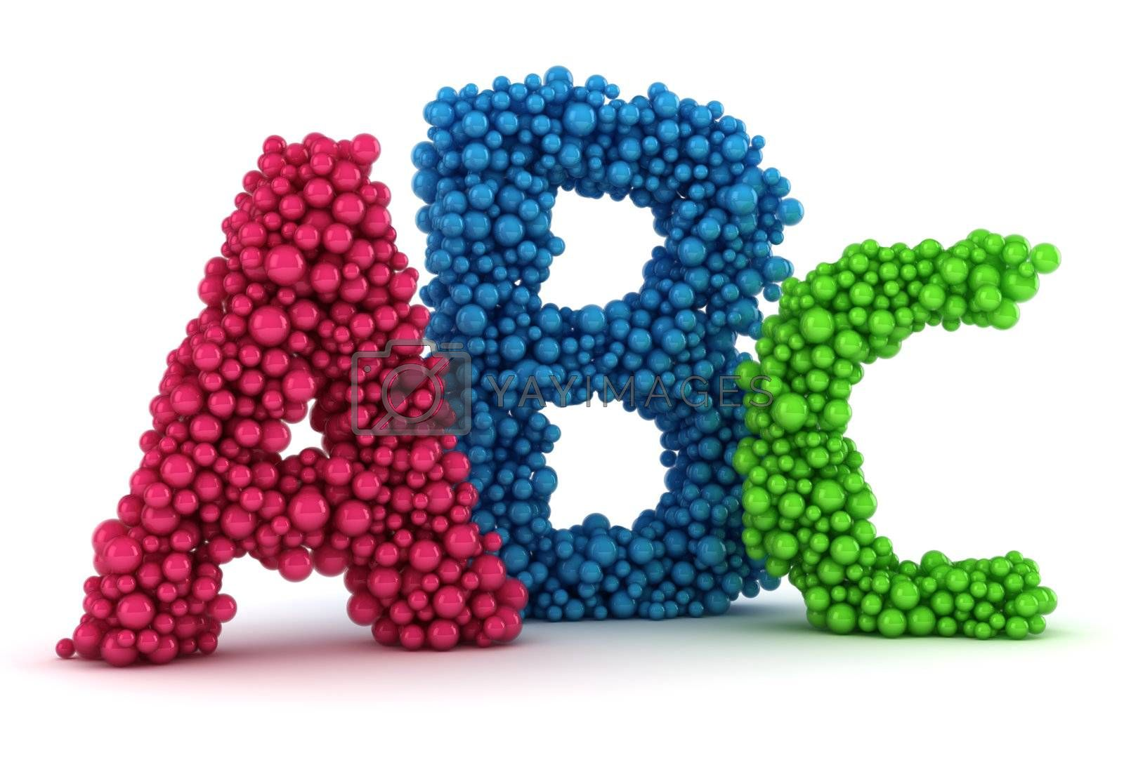 Big A, B, C letters made from colored bubbles