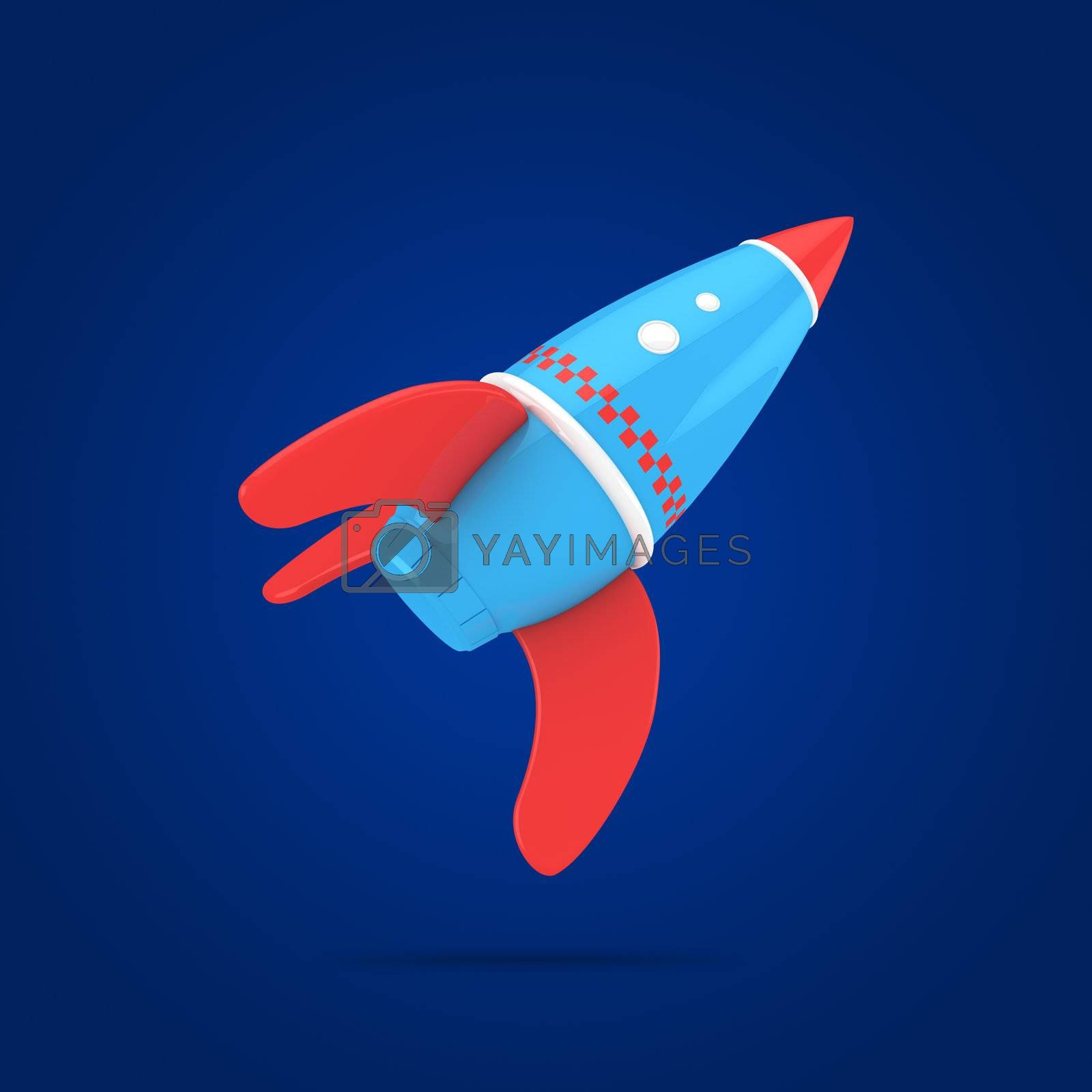 Flying rocket on the blue background, 3d computer graphic