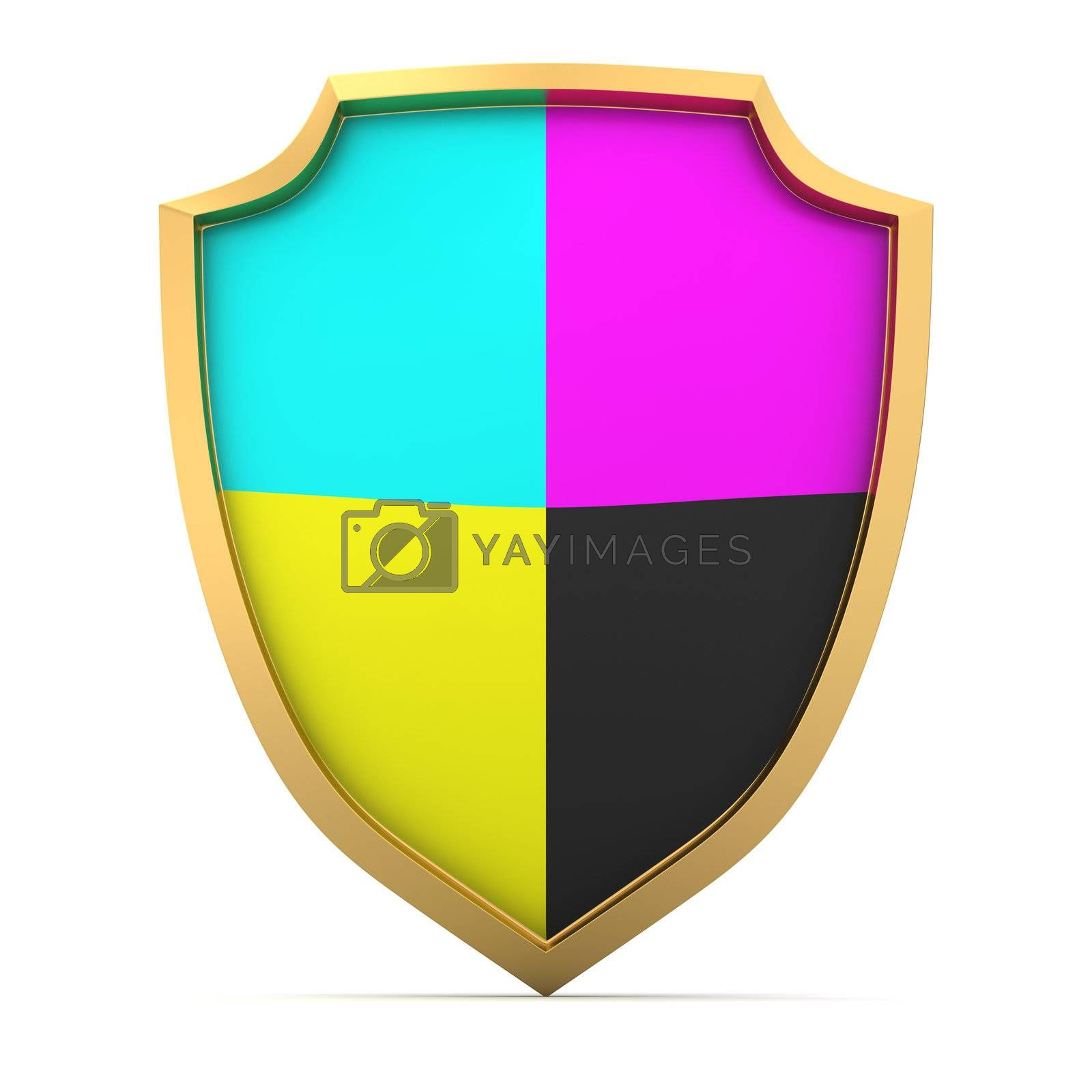 Shield painted with cmyk colors