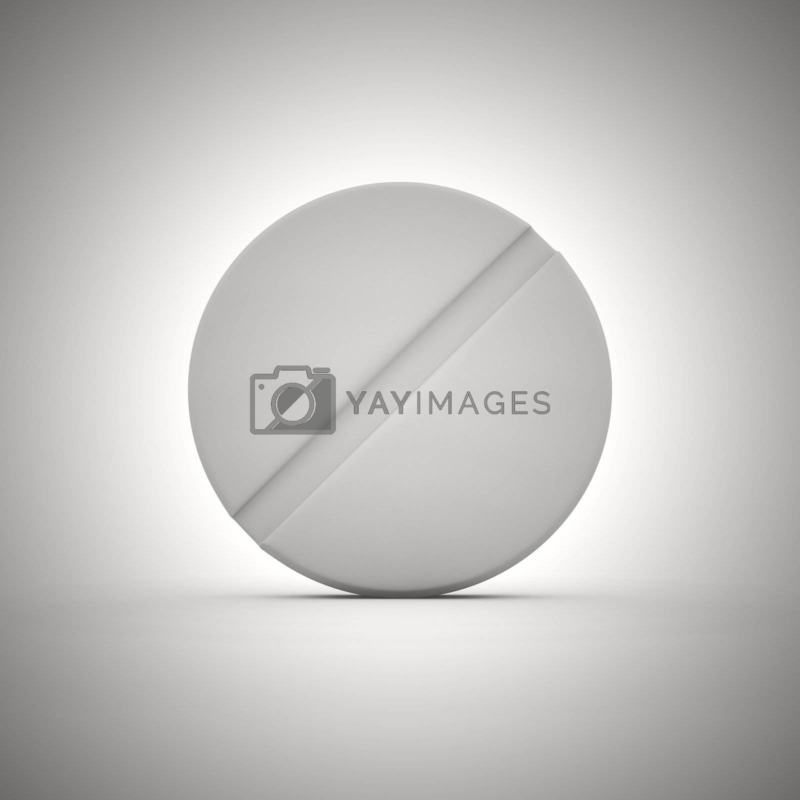 Big white tablet of round shape