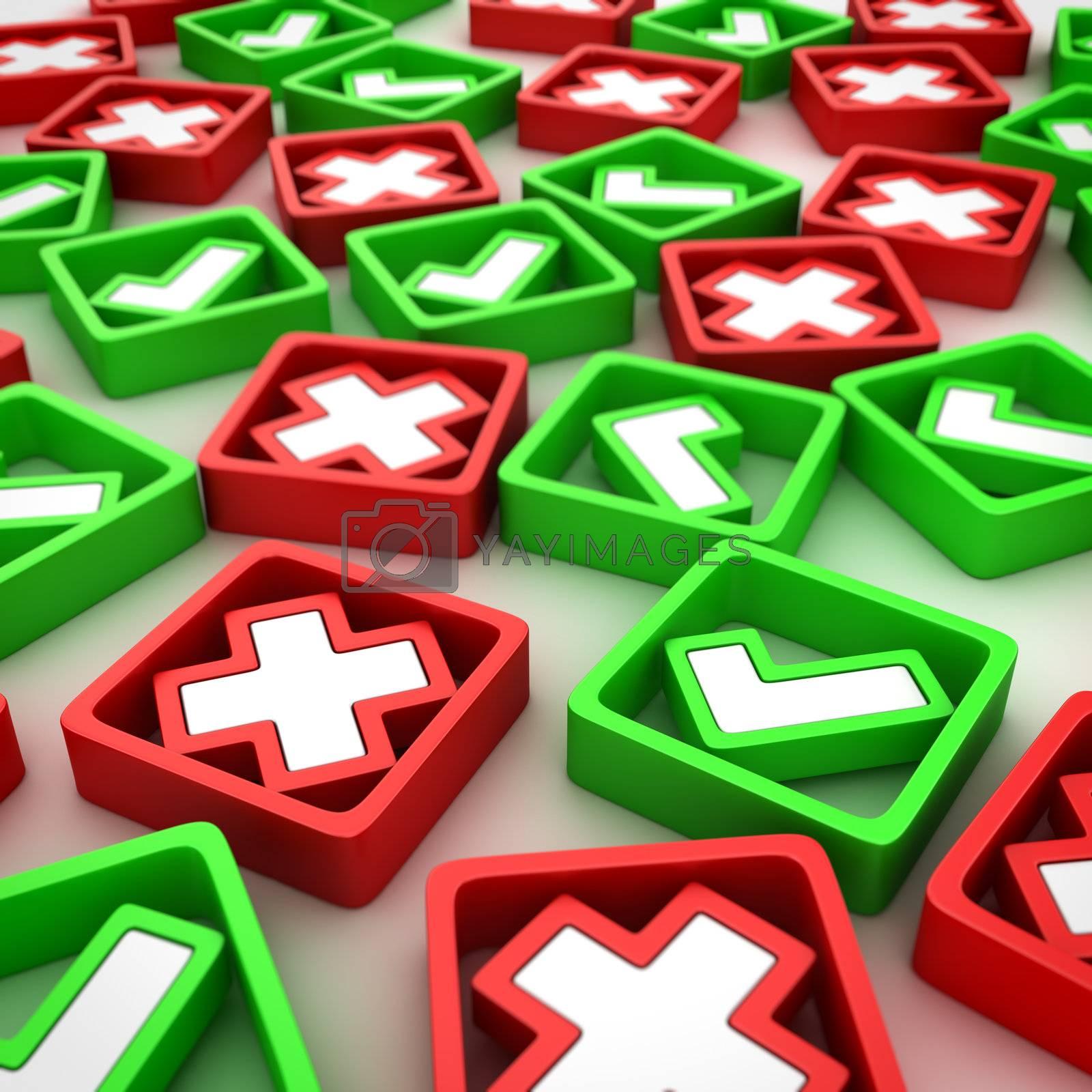 Random group of positive ticks and negative crosses