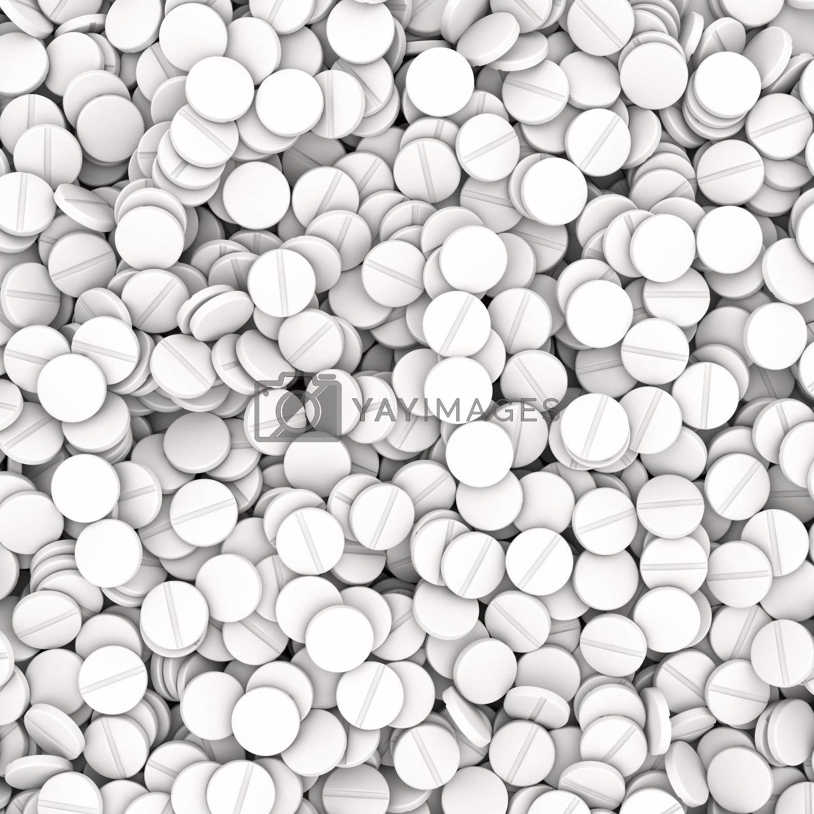 Heap of white tablets - medical background