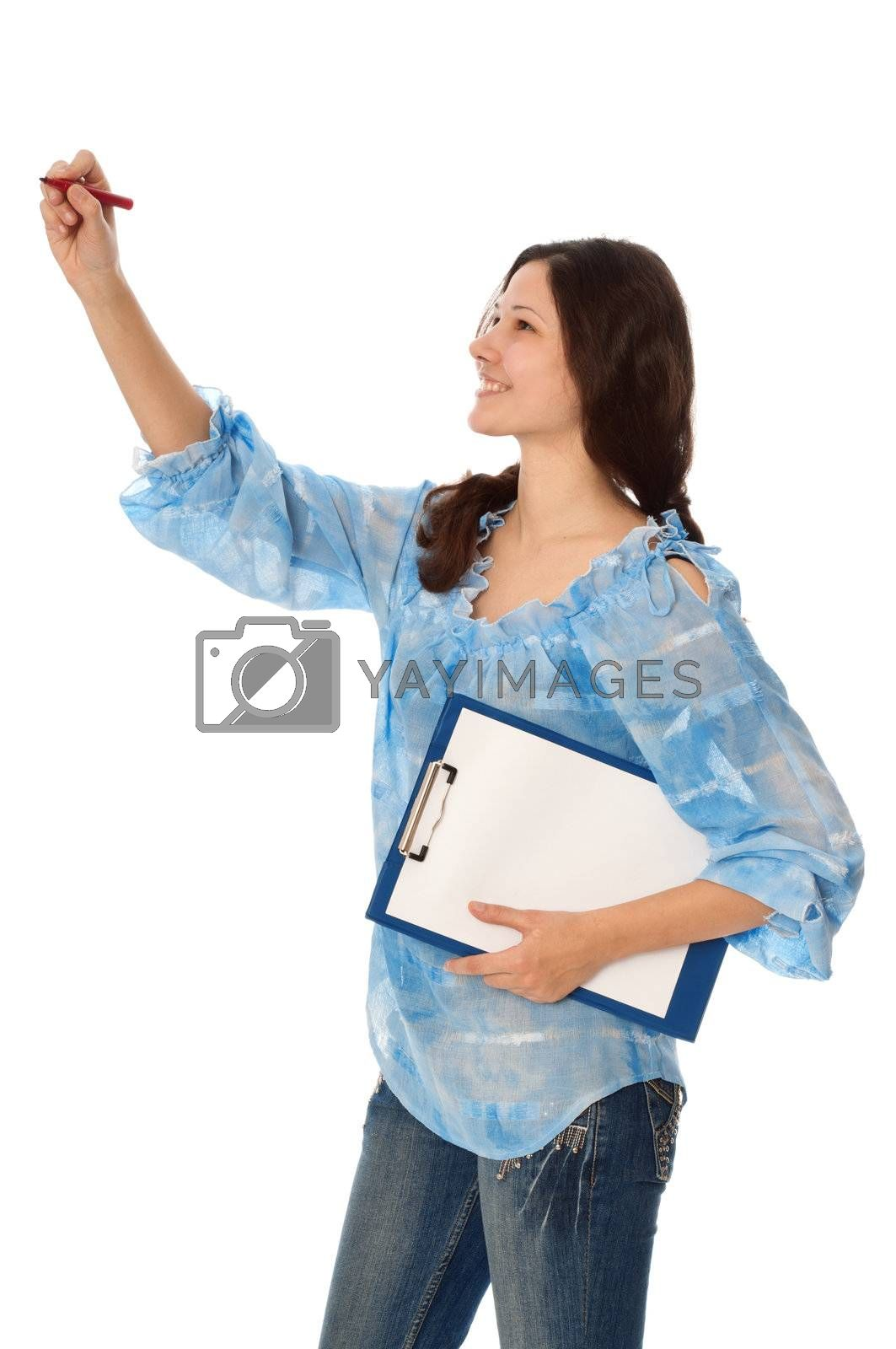 commodities expert with clipboard in the hand drawing a diagram