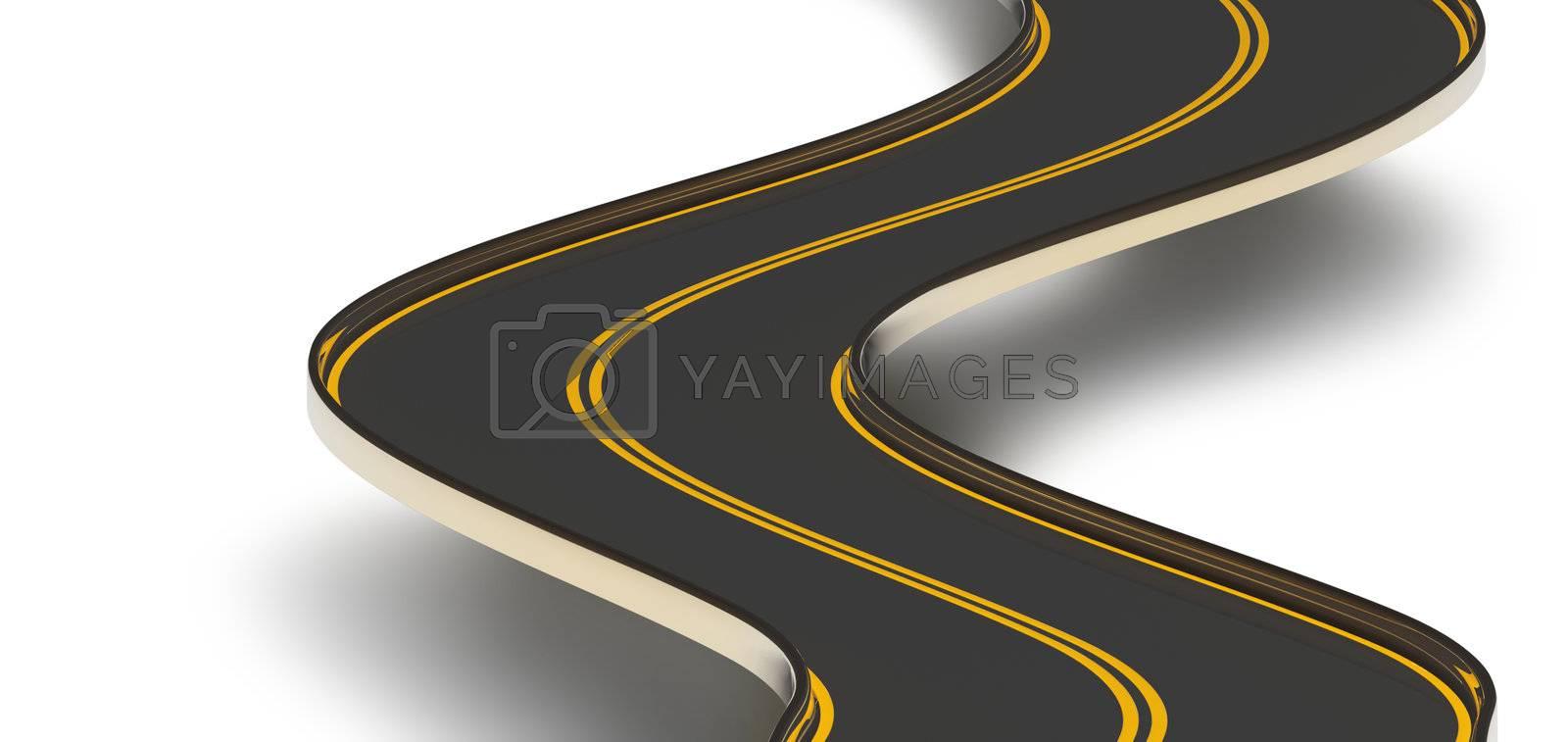 a winding asphalt road with double orange dividing strip