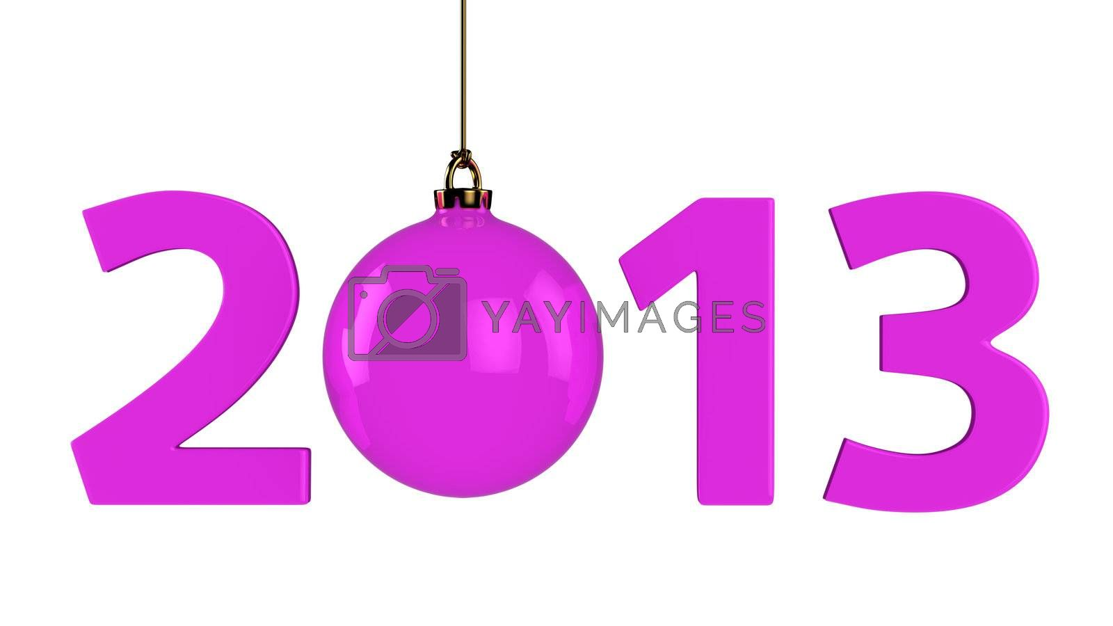 Big purple digits of new year and christmas ball instead zero. Isolated on white.