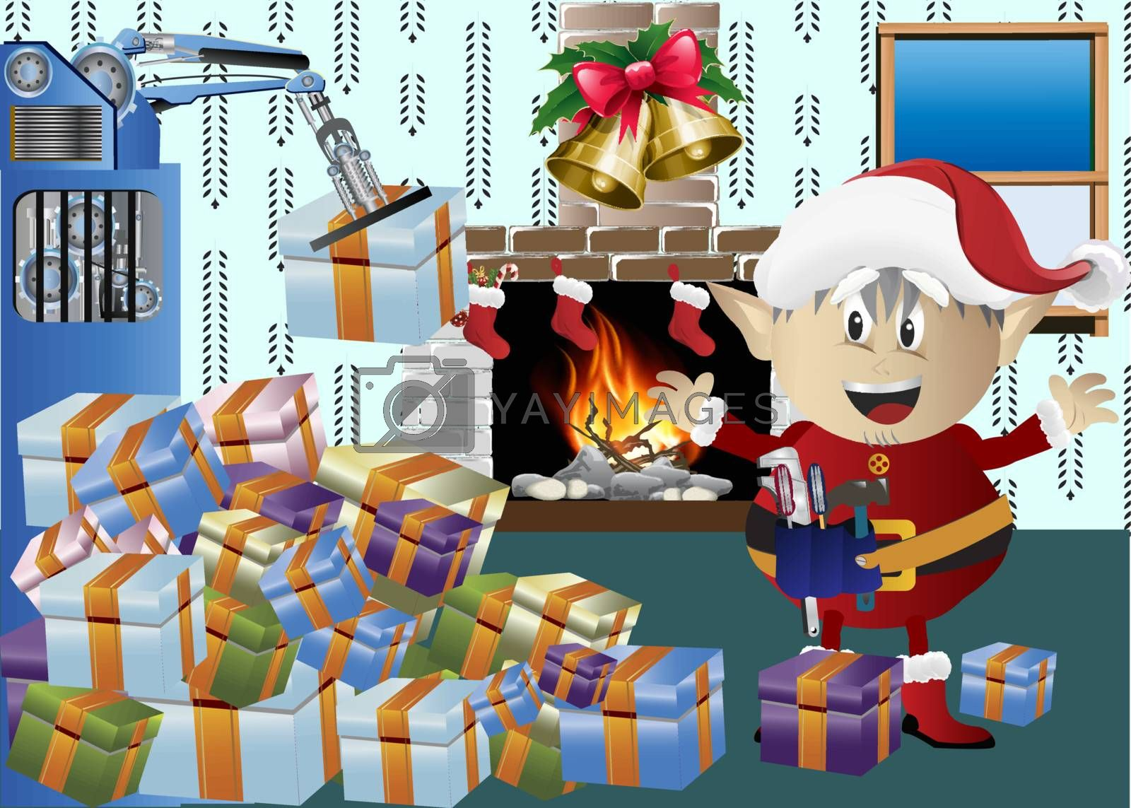Christmas elf with gift boxes clip-art