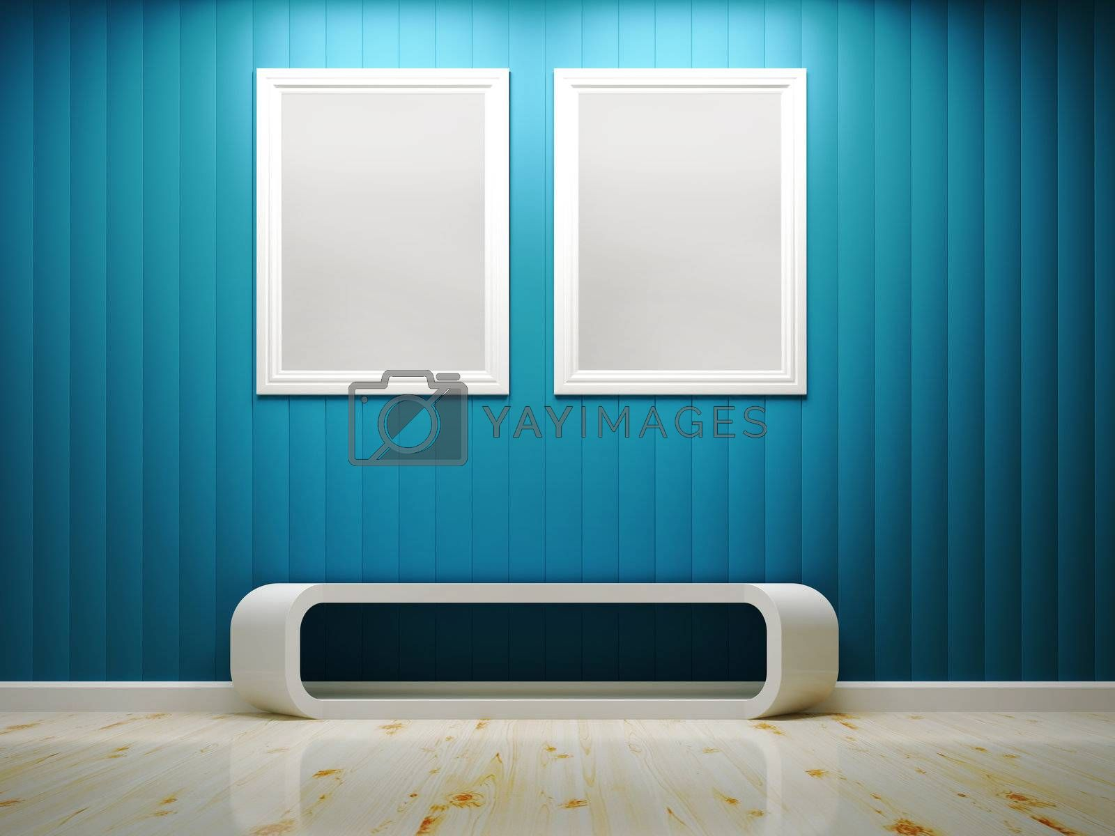 White frame and blue wall interior 3d rendering