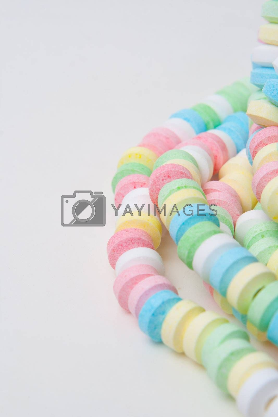 colorful candy necklace  isolated on white background