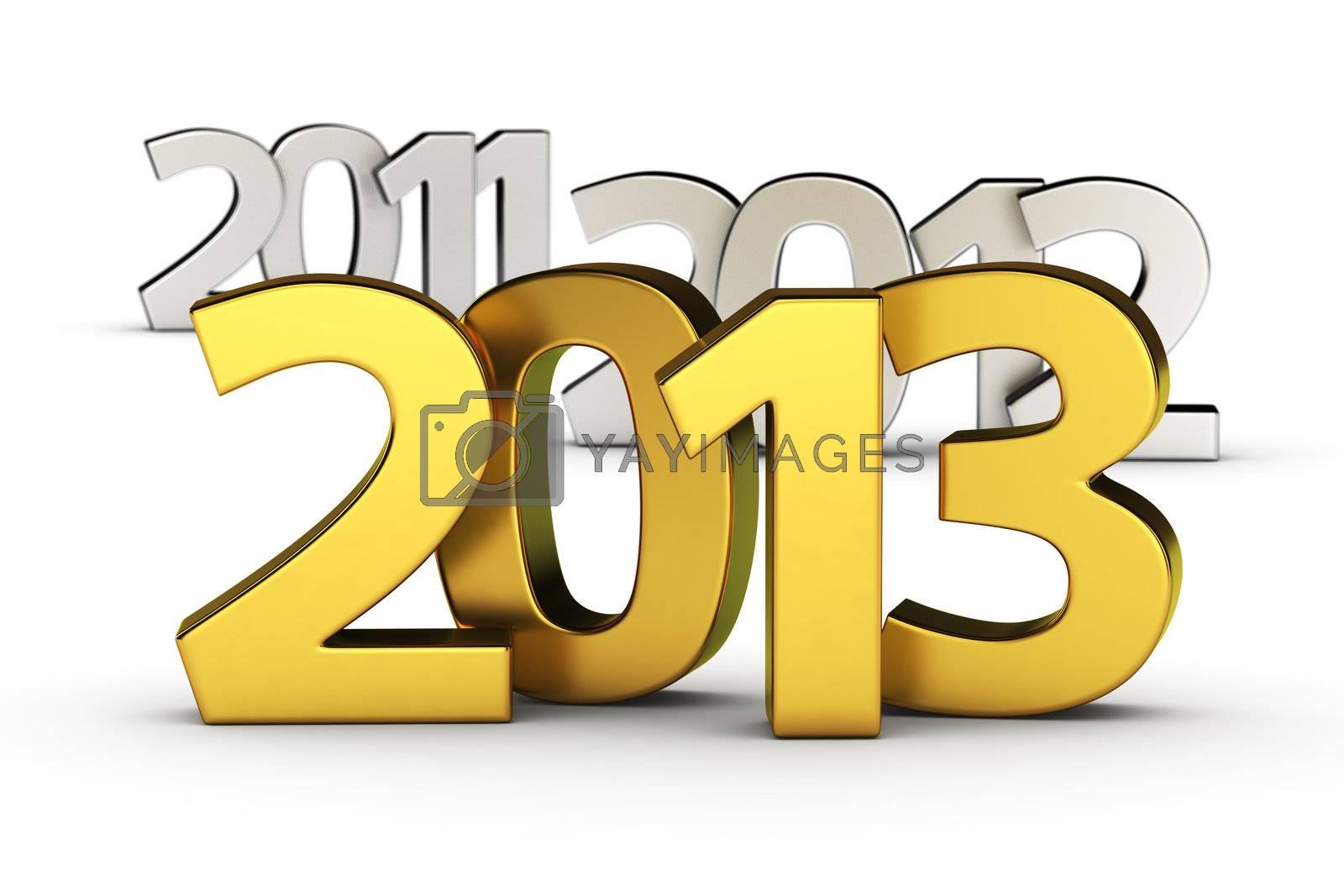 Golden digits 2013 against defocused 2012 and 2011