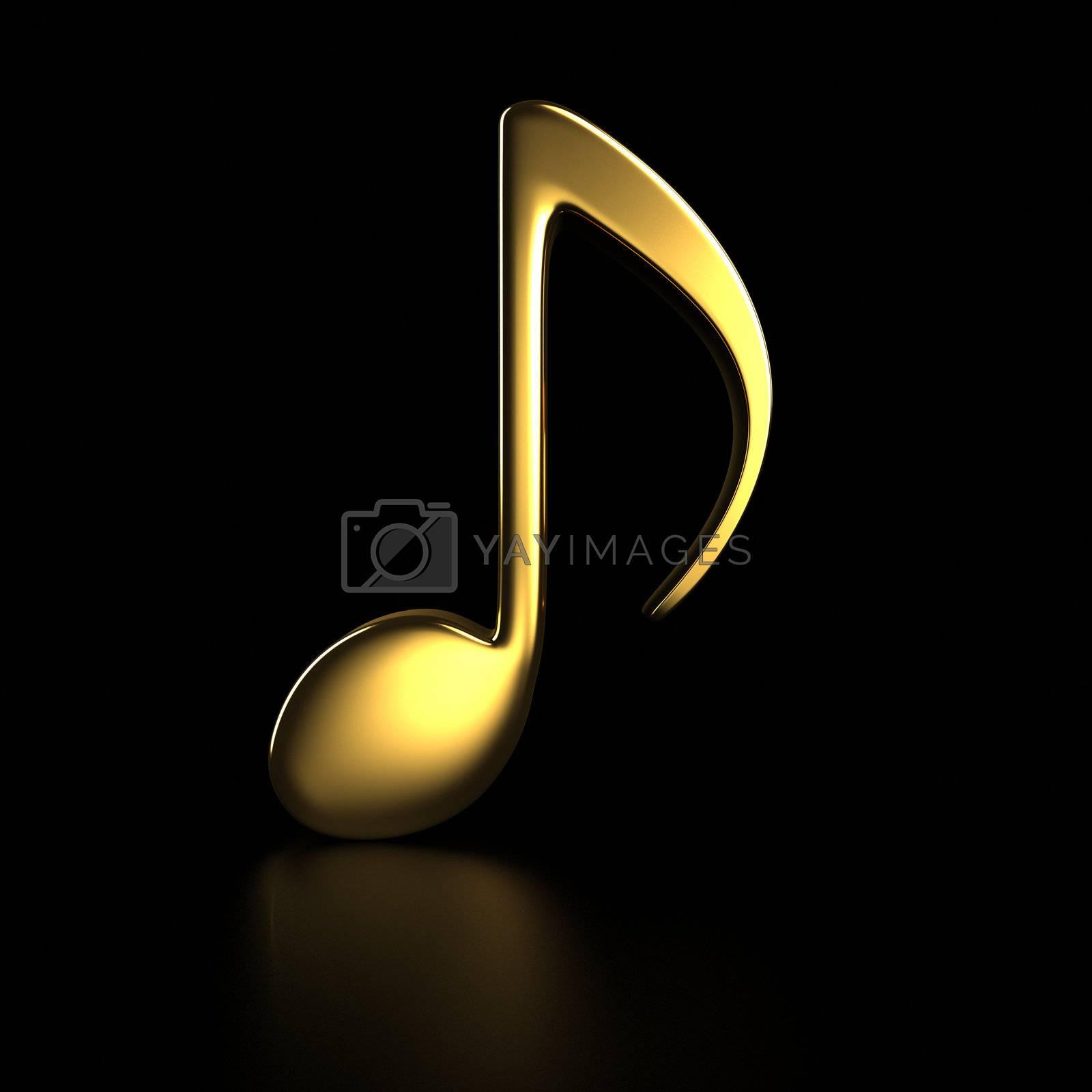 Golden note symbol on the black background