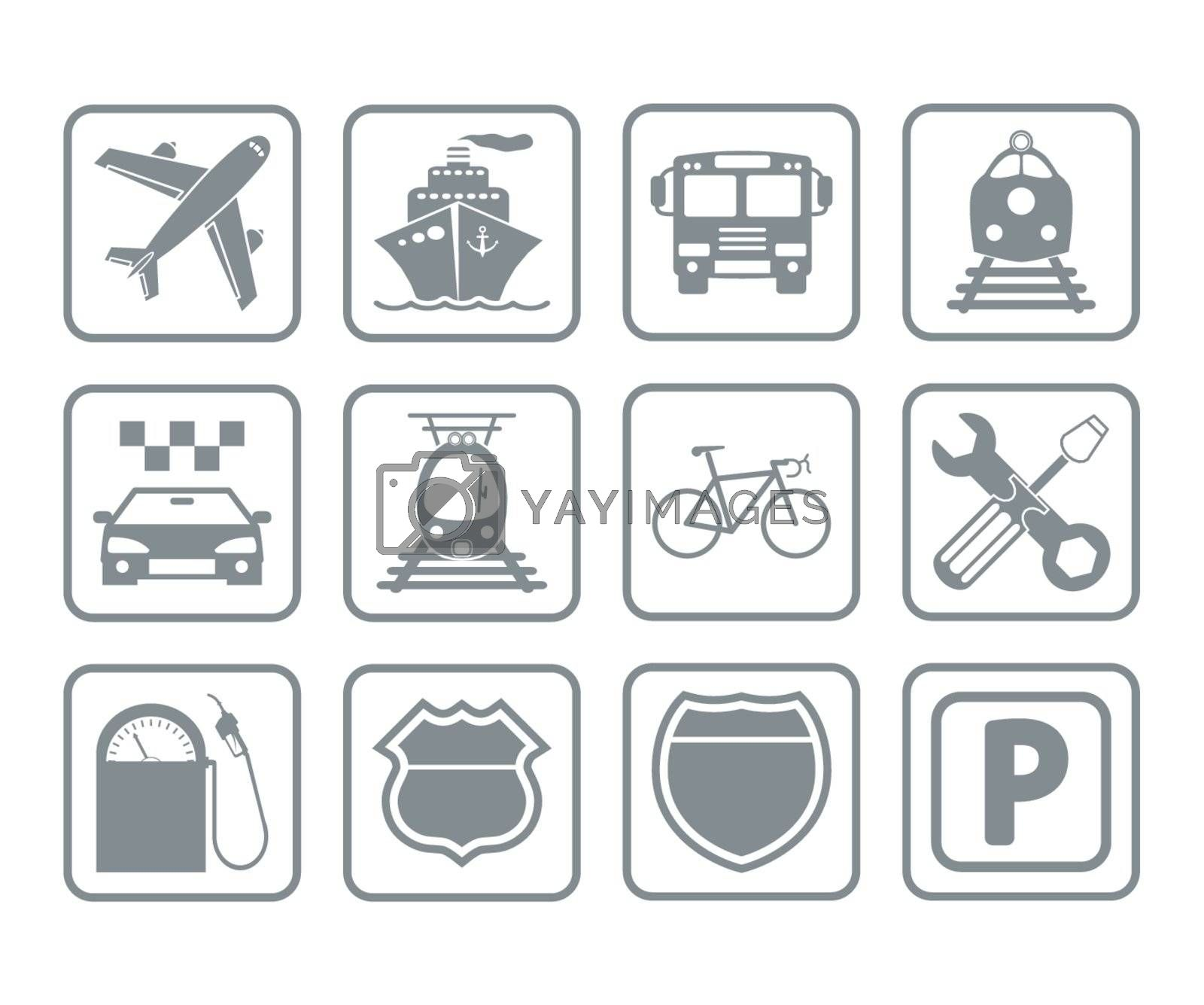 Transportation icons and signs. Vector illustration EPS 8.