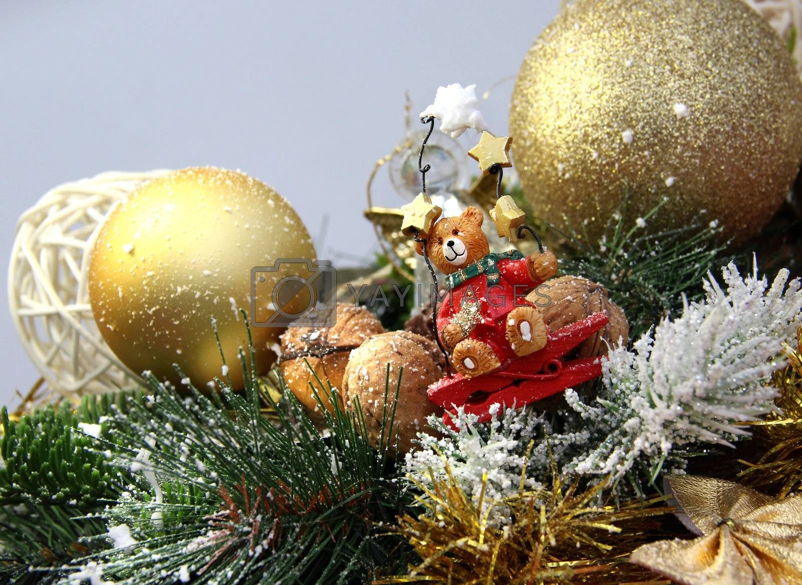 Big mix of Christmas decorations with cute bear