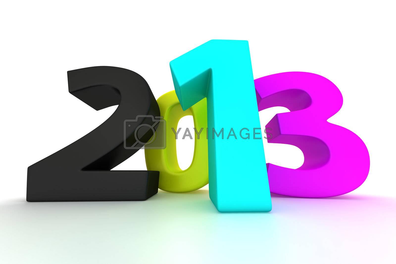 Big CMYK digits 2013 on the white background