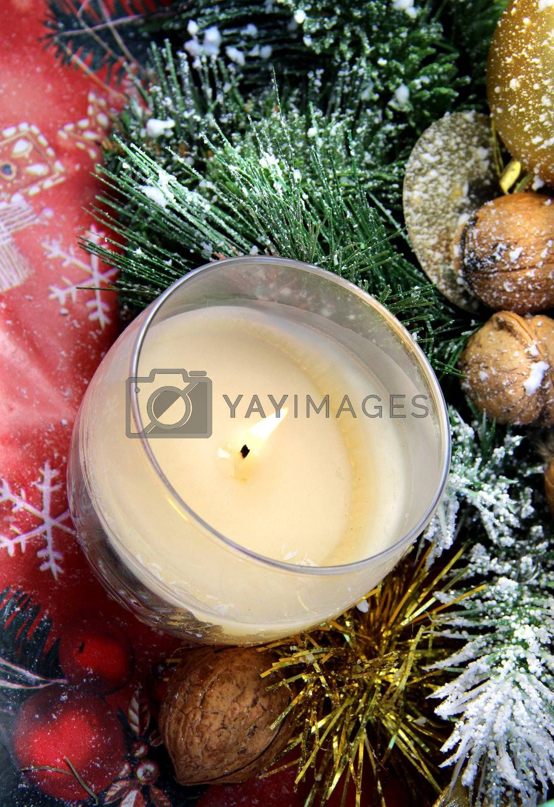 Christmas decoration: pine, nuts, candle