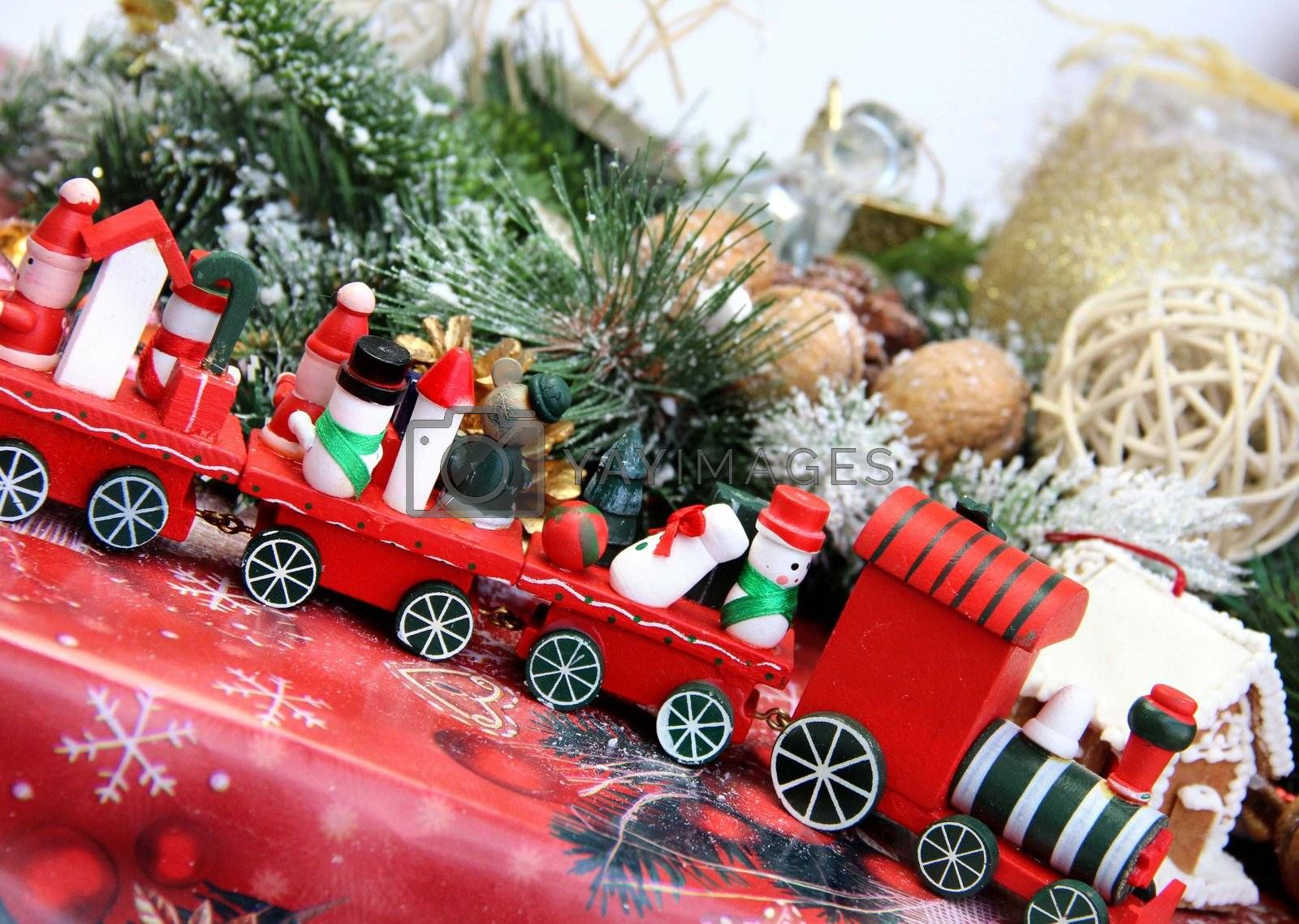 Big mix of Christmas decorations with toy red train
