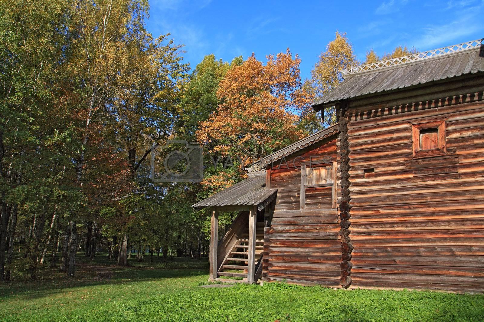 rural wooden house amongst autumn wood